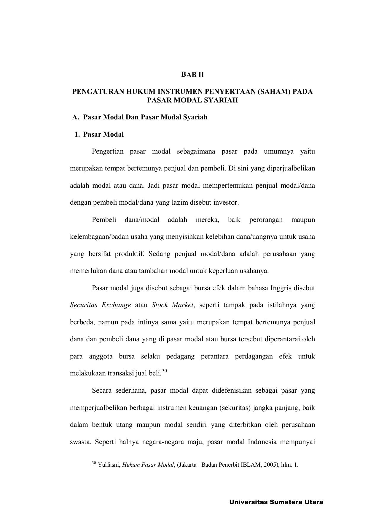 Bab Ii Pengaturan Hukum Instrumen Penyertaan Saham