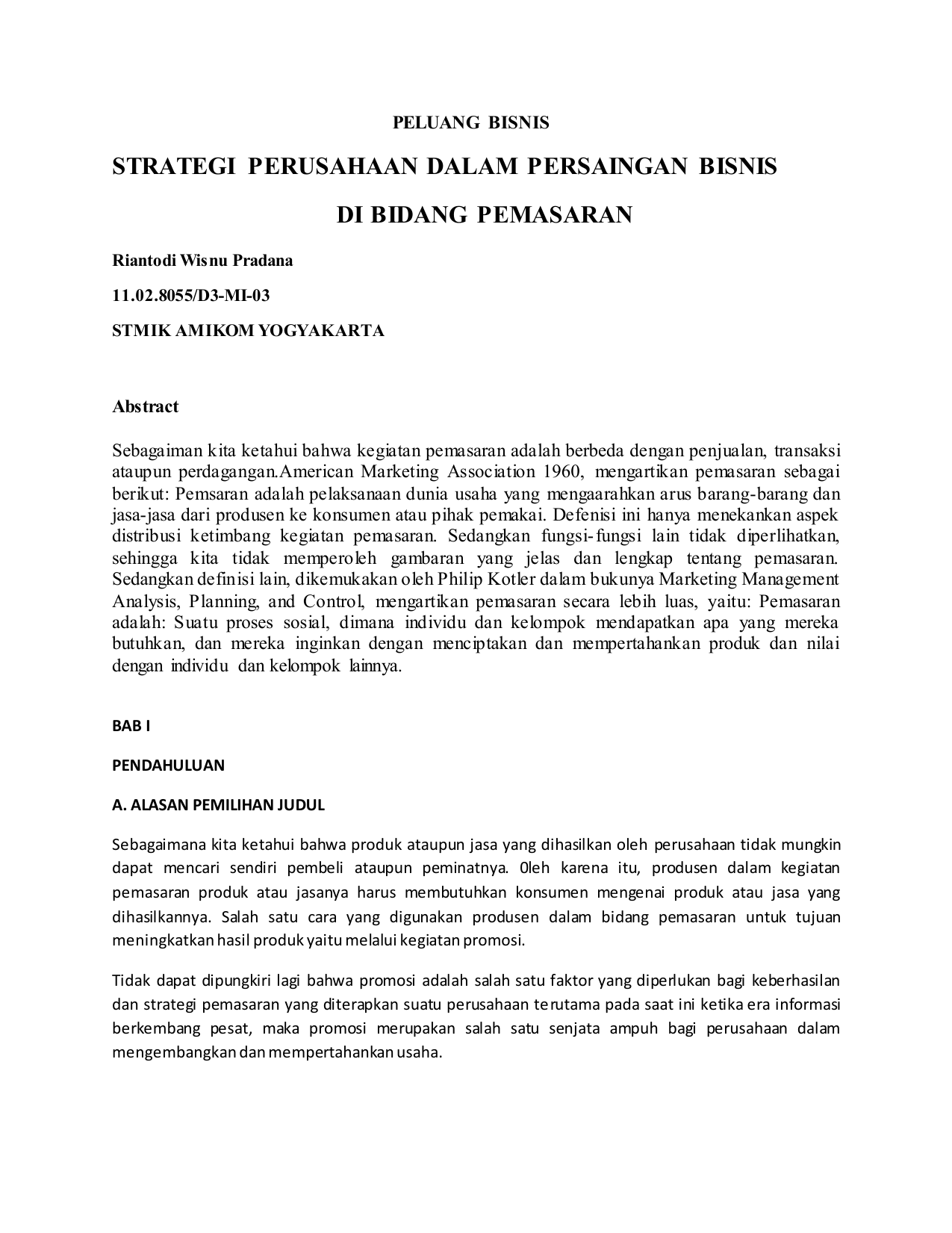 Analisis kinerja dan perumusan strategi untuk perusahaan dagang Surya Abadi