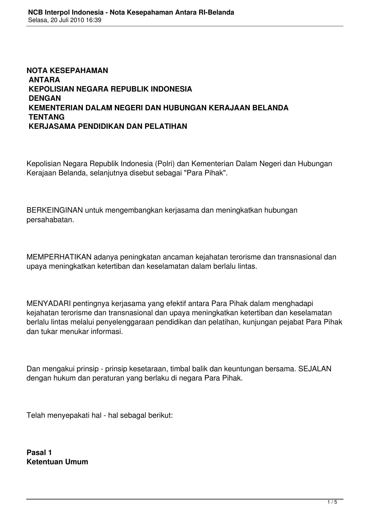 Ncb Interpol Indonesia Nota Kesepahaman Antara Ri