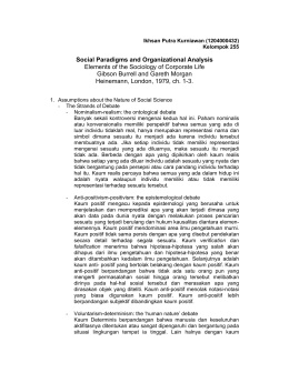 Social Paradigms and Organizational Analysis Elements of the