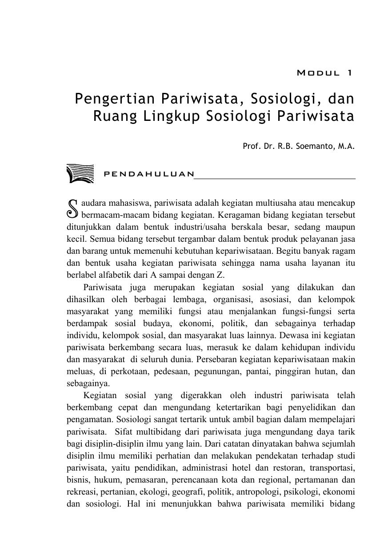 Pengertian Pariwisata, Sosiologi, dan Ruang Lingkup Sosiologi