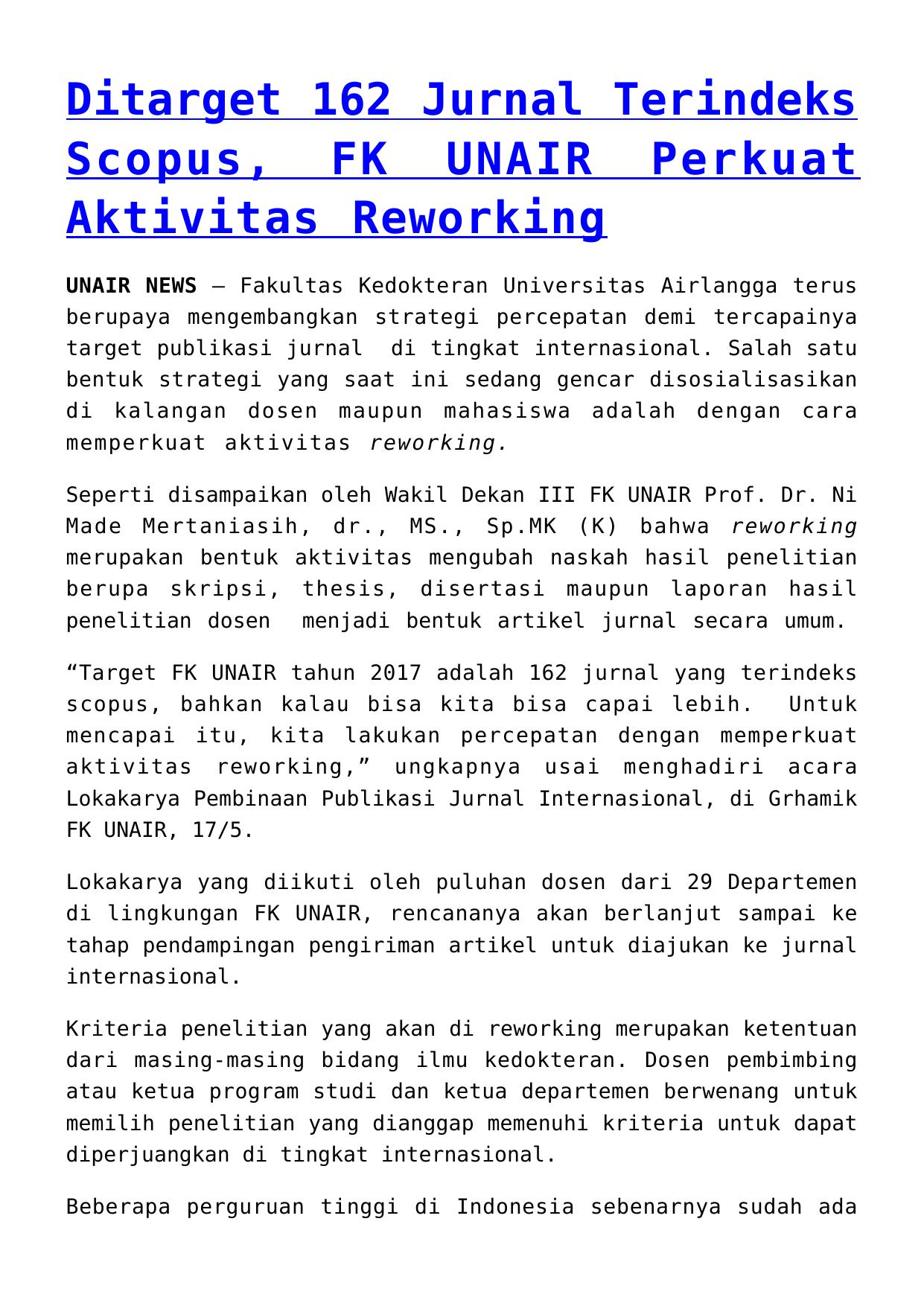 Ditarget 162 Jurnal Terindeks Scopus Fk Unair