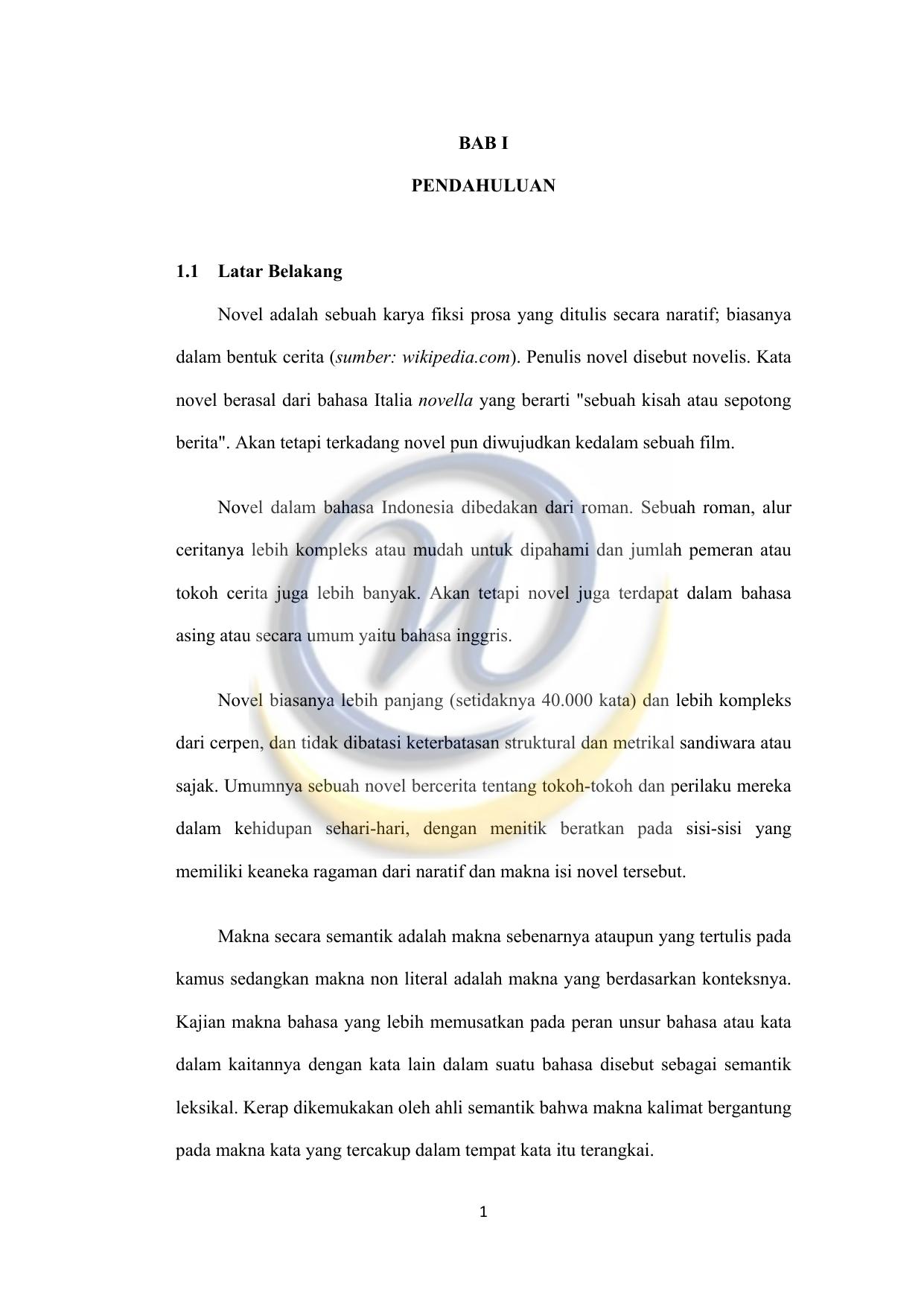 Bab I Pendahuluan 1 1 Latar Belakang Novel Adalah Sebuah
