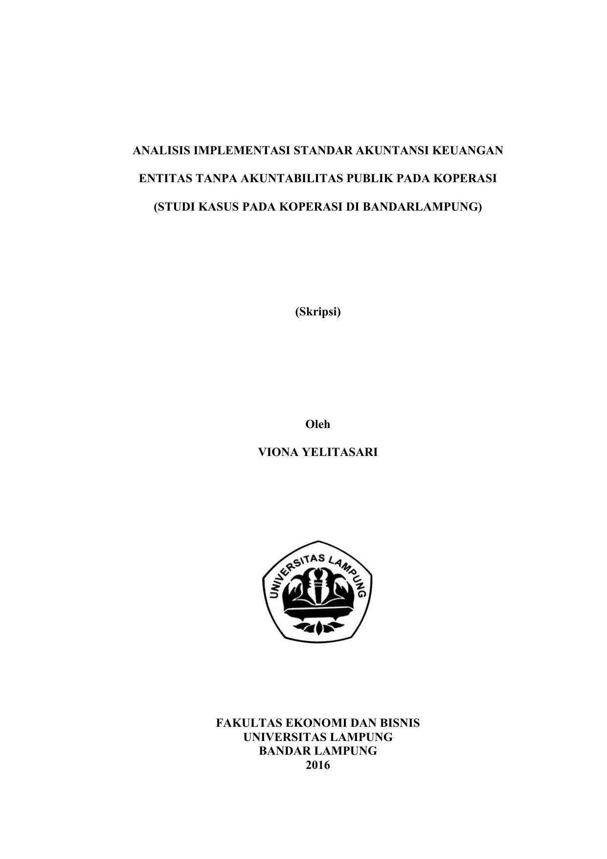 Analisis Implementasi Standar Akuntansi Keuangan Entitas Tanpa