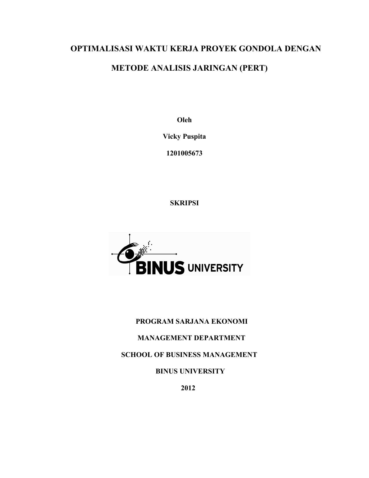 Skripsi Binus Manajemen Ide Judul Skripsi Universitas