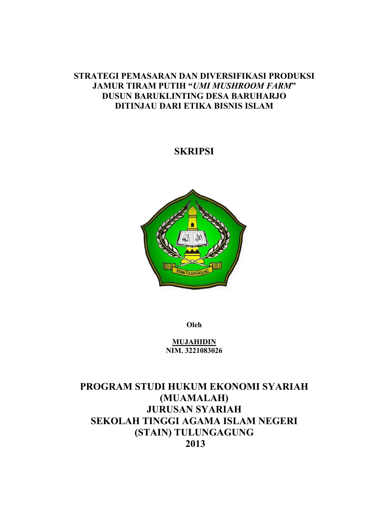 Skripsi Program Studi Hukum Ekonomi Syariah Muamalah