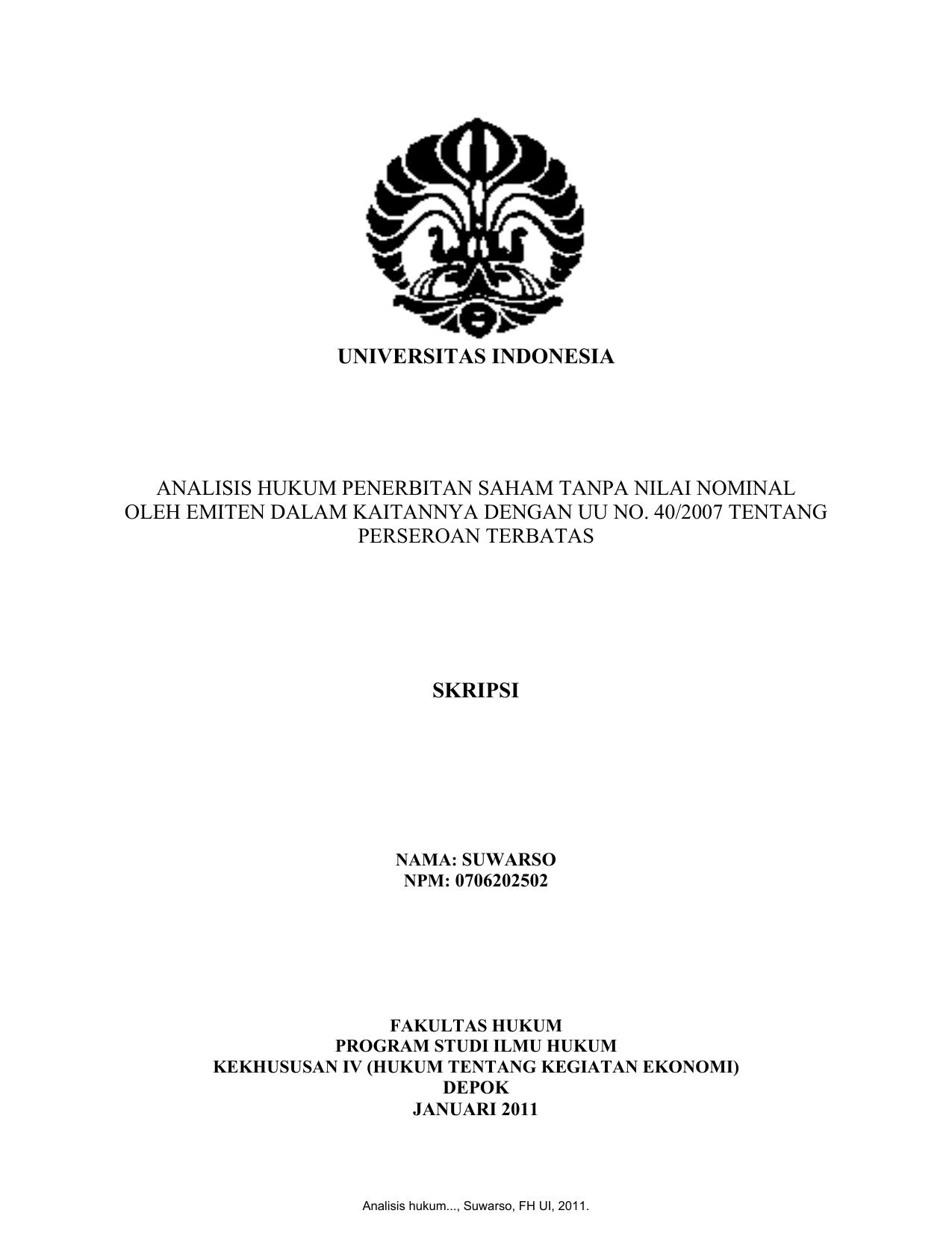 Judul Skripsi Hukum Perdata Ui Contoh Surat