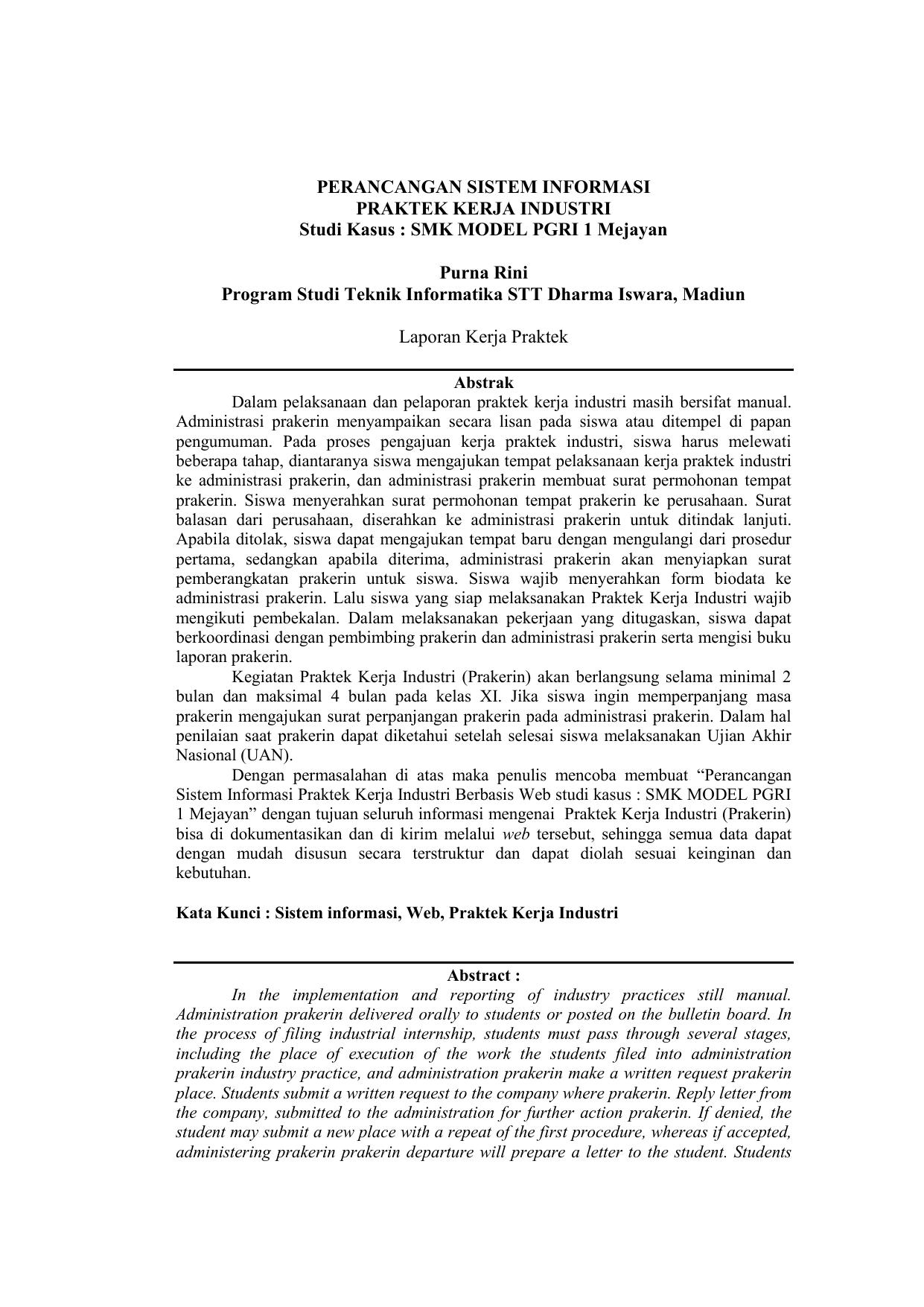 Perancangan Sistem Informasi Praktek Kerja Industri