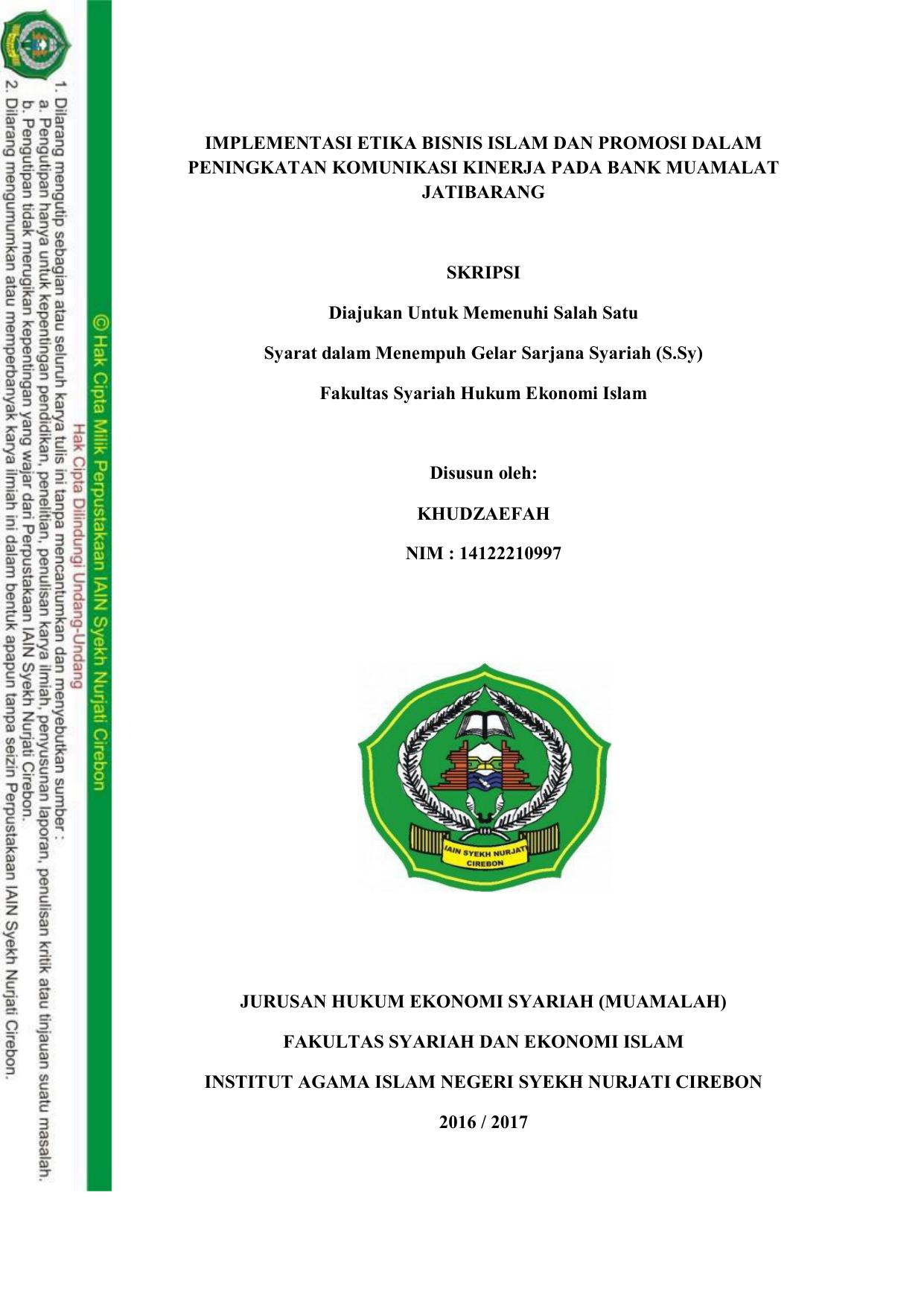 Implementasi Etika Bisnis Islam Dan Promosi Dalam