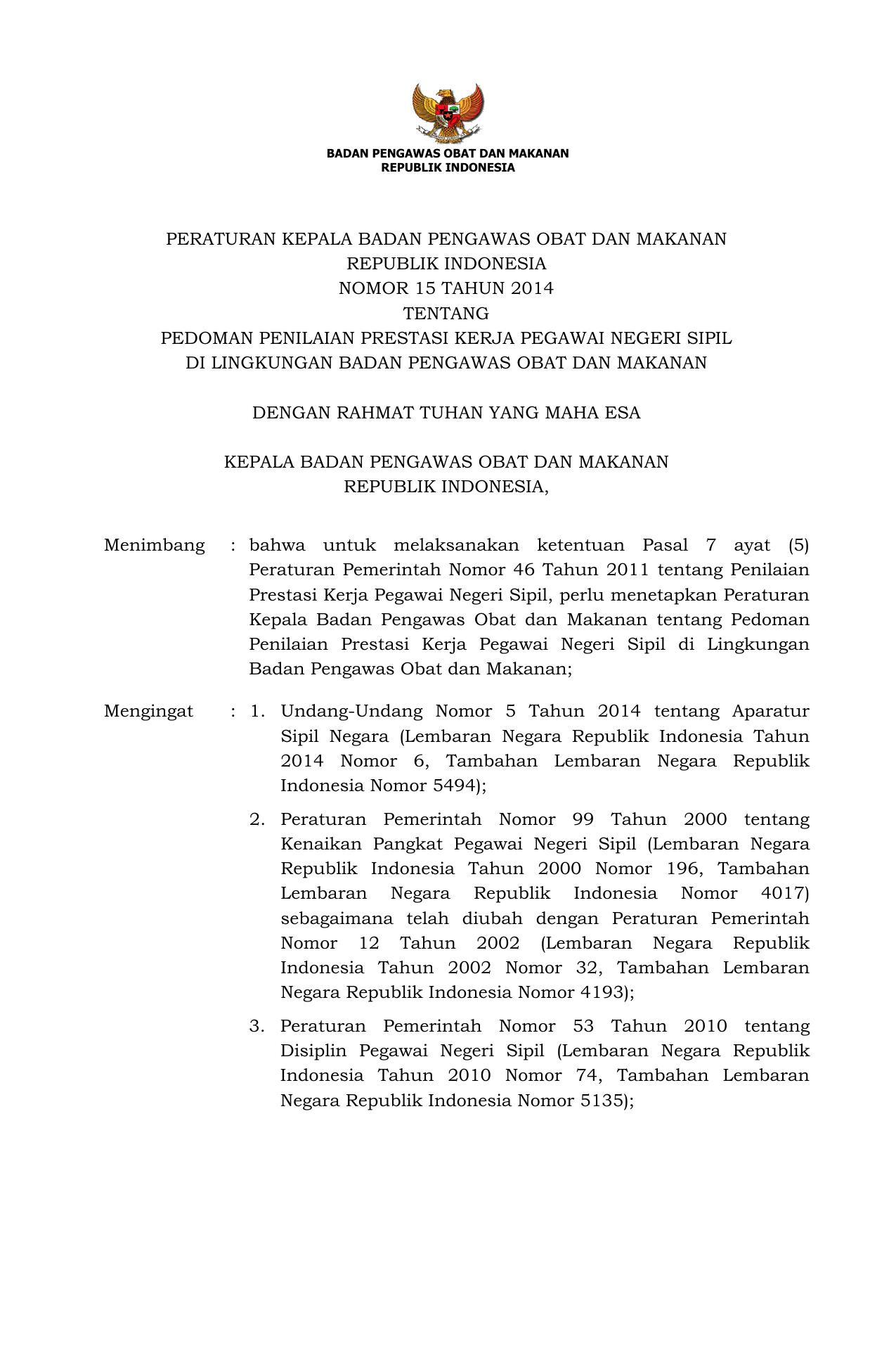 Pedoman Penilaian Prestasi Kerja Pegawai Negeri Sipil Di