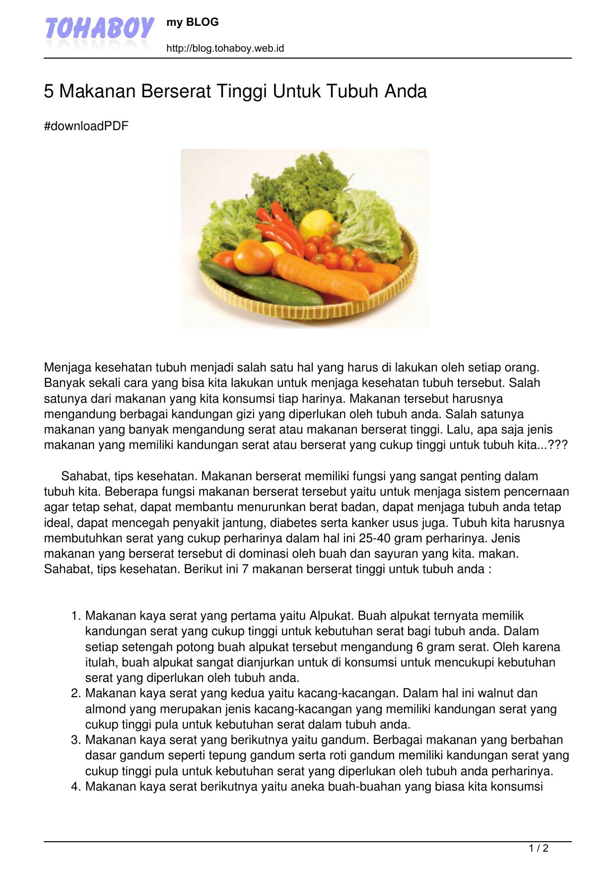 5 Makanan Berserat Tinggi Untuk Tubuh Anda