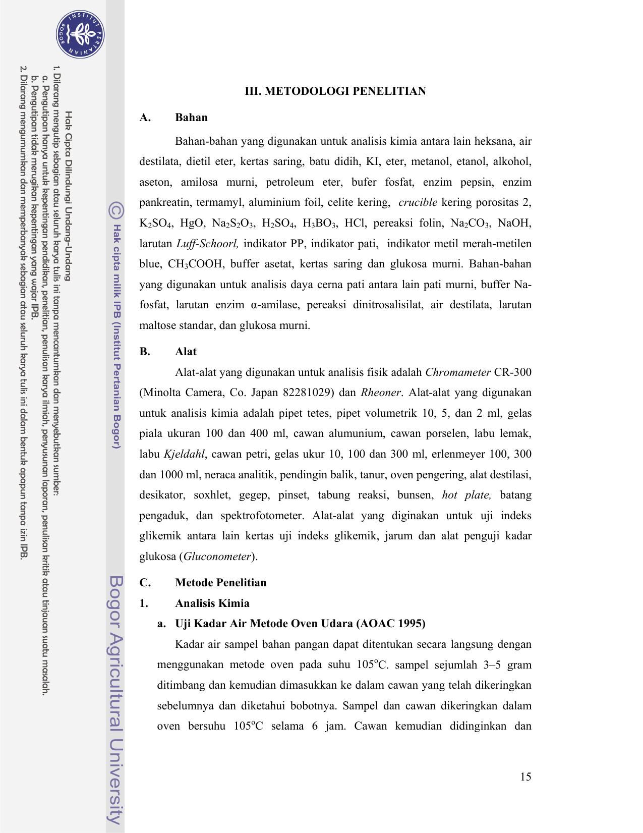 Sifat Fisikokimia Dan Indeks Glikemik Berbagai