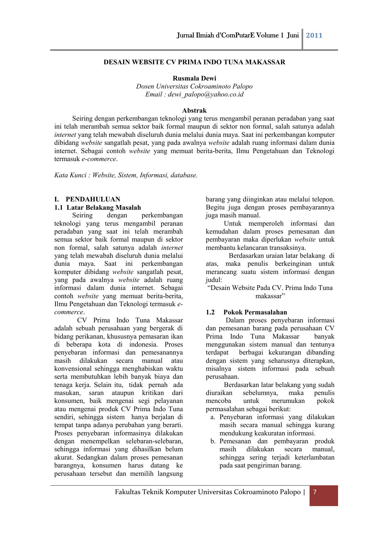 Jurnal Ilmiah D Computare Volume 1 Juni