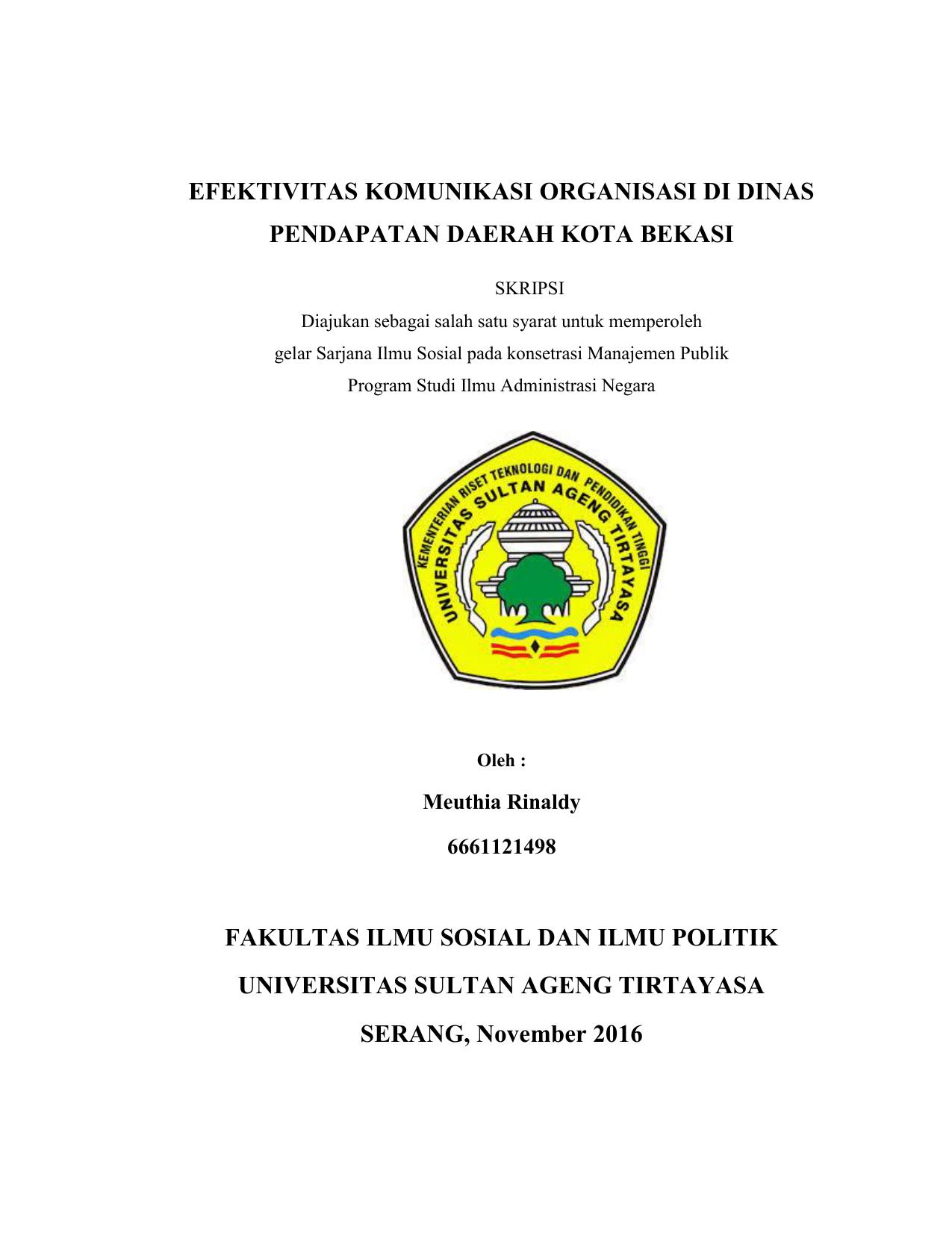Efektivitas Komunikasi Organisasi Di Dinas Pendapatan Daerah Kota