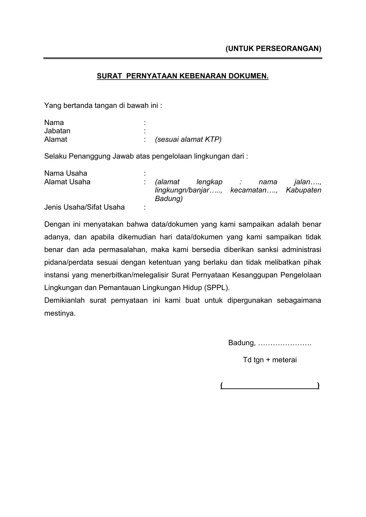 Surat Pernyataan Pengelolaan Lingkungan Sppl