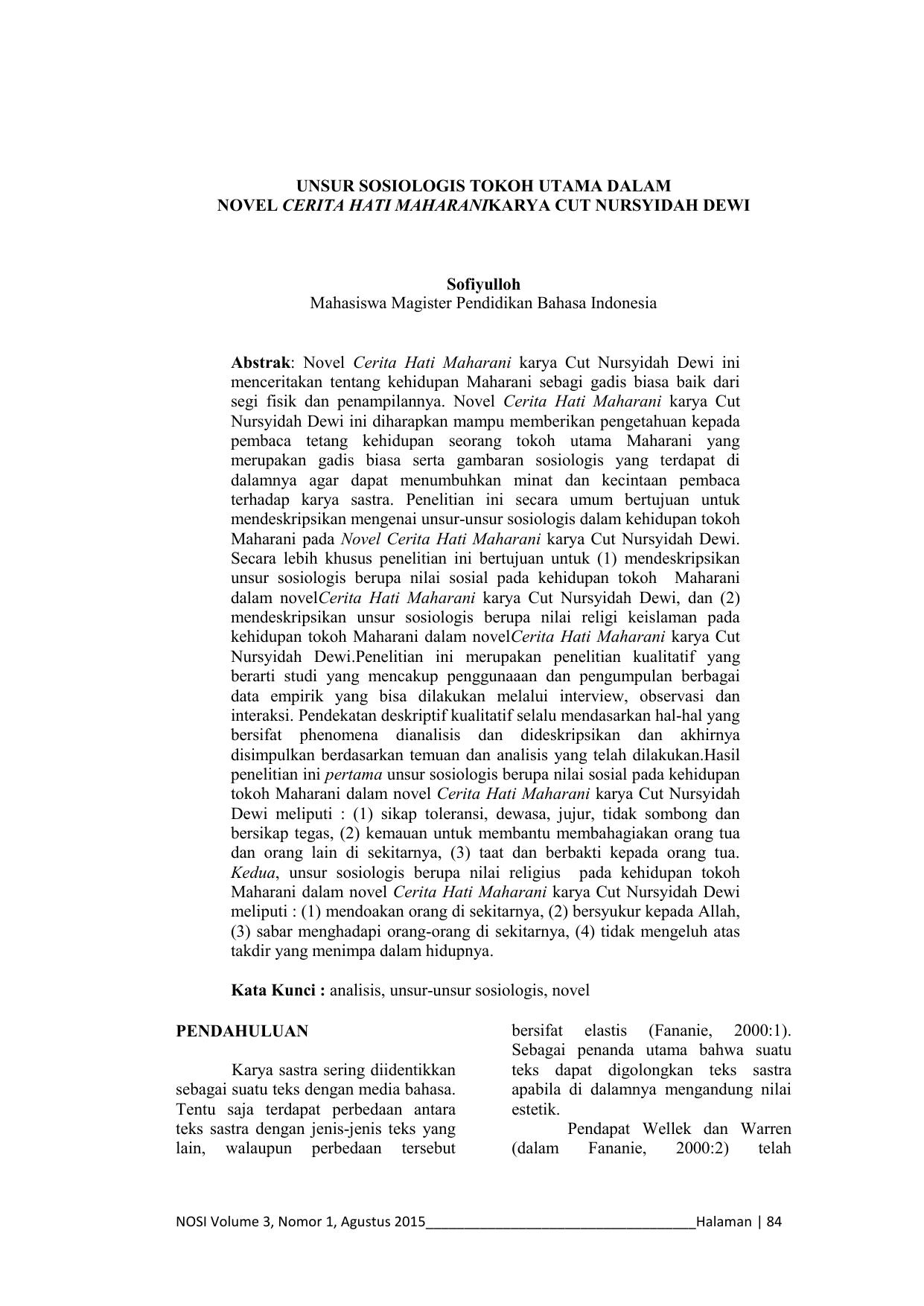 Skripsi Analisis Karakter Tokoh Utama Dalam Novel Kumpulan Berbagai Skripsi