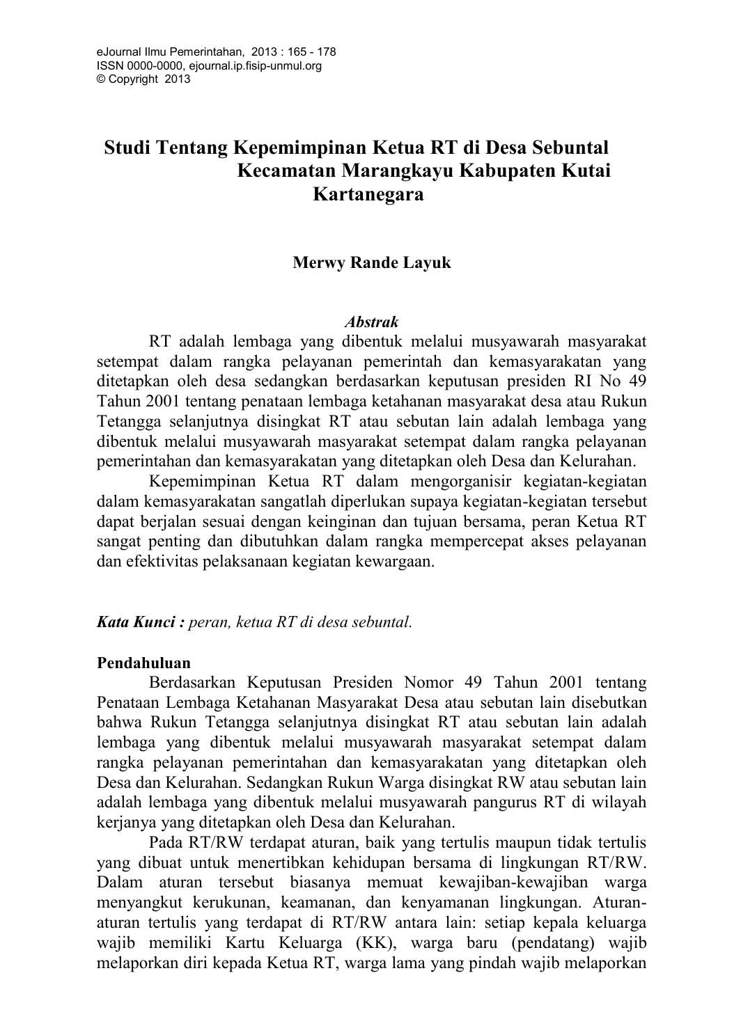 Studi Tentang Kepemimpinan Ketua Rt Di Desa Sebuntal