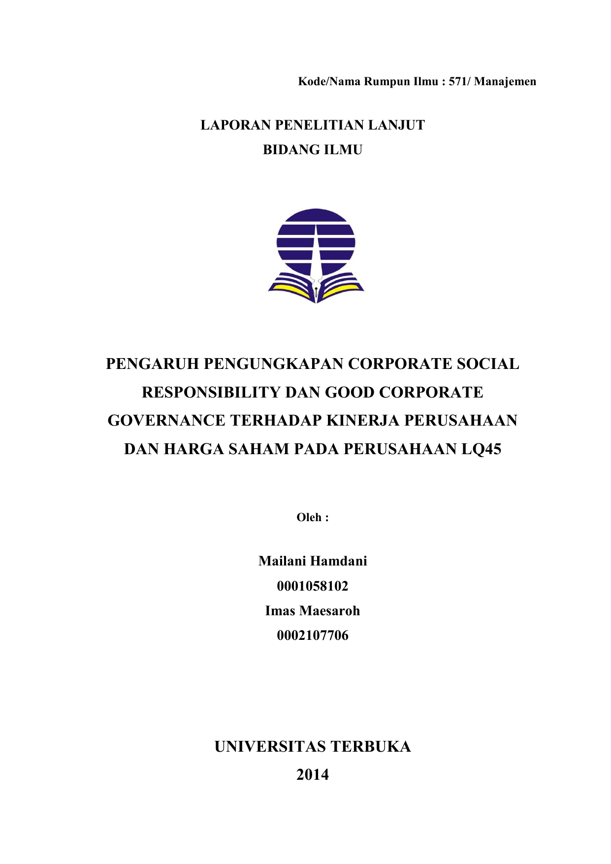 Judul Skripsi Tentang Good Corporate Governance Kumpulan Berbagai Skripsi