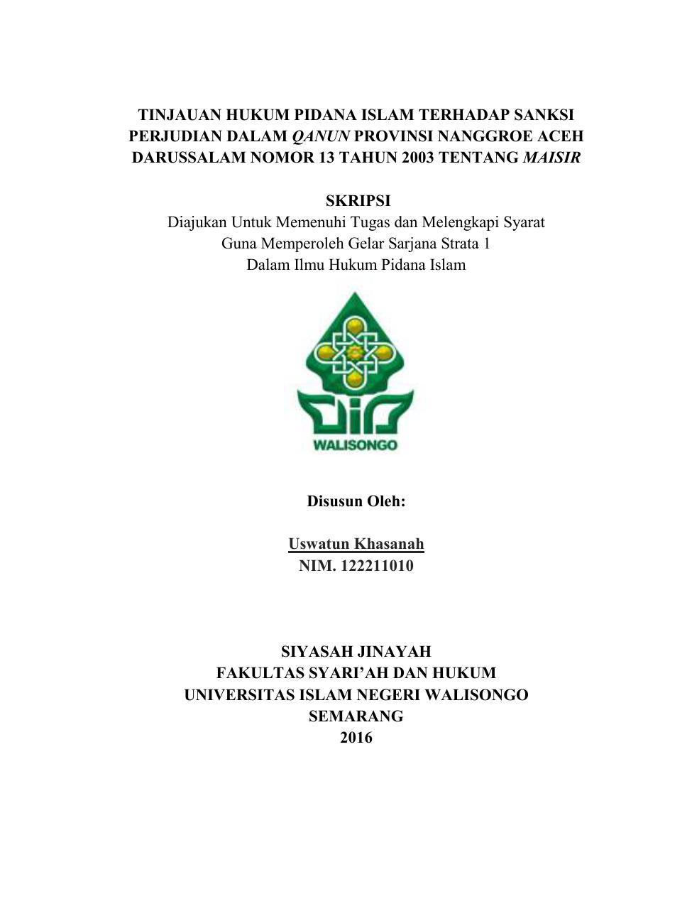 Tinjauan Hukum Pidana Islam Terhadap Sanksi