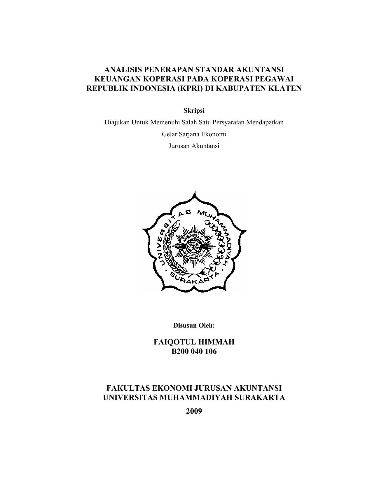 Analisis Penerapan Standar Akuntansi Keuangan Koperasi Pada