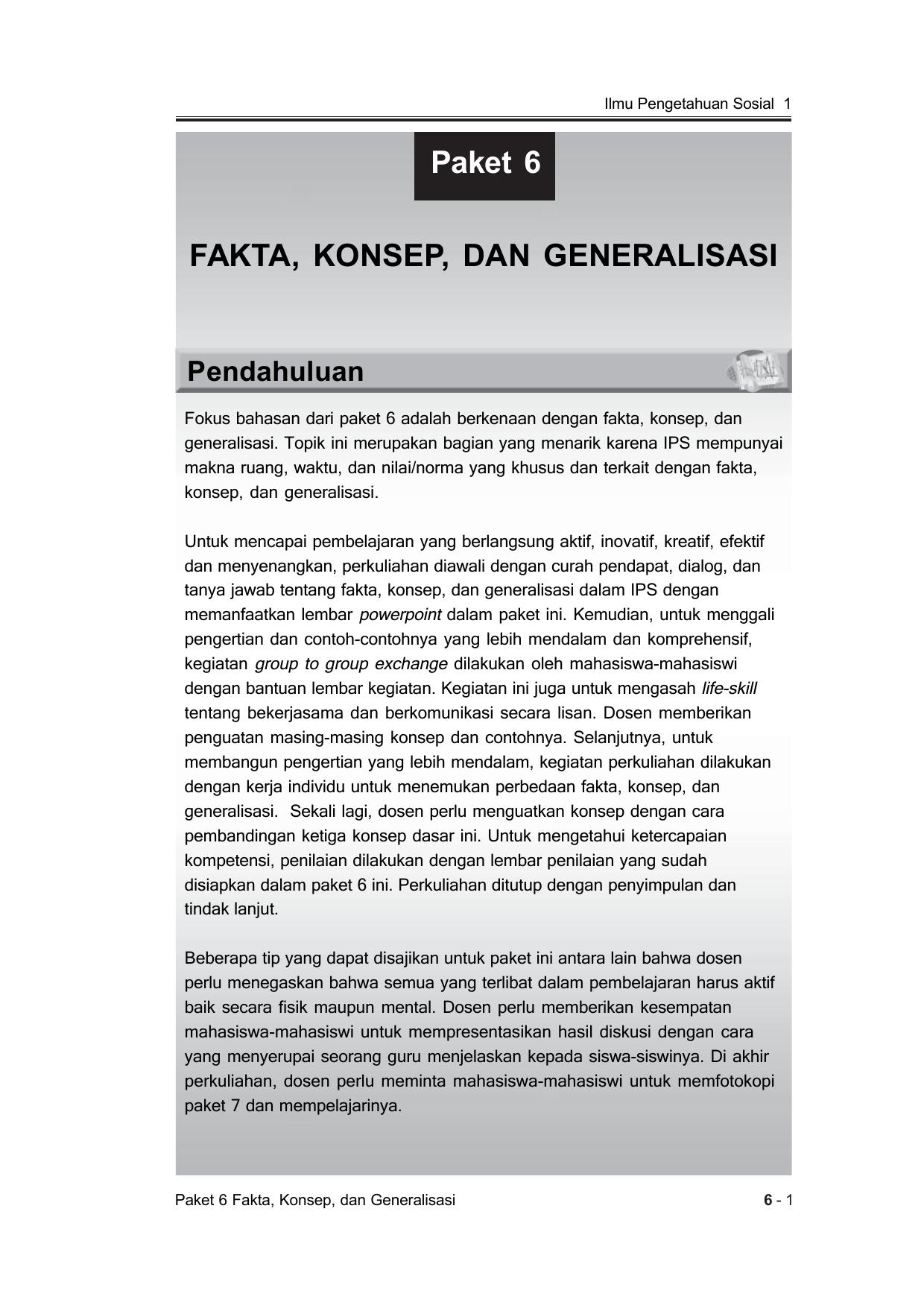 Fakta Konsep Dan Generalisasi Paket 6