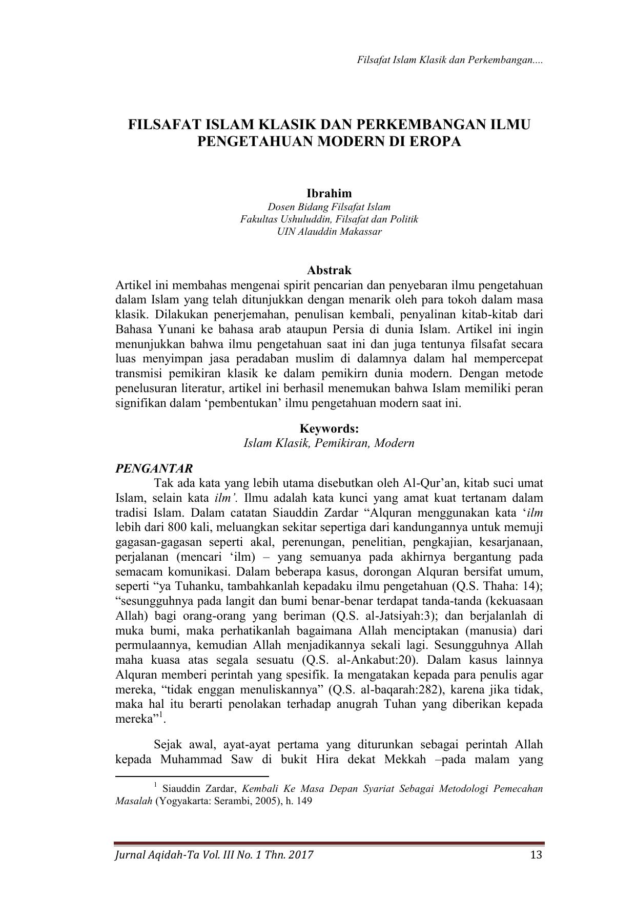 Filsafat Islam Klasik Dan Perkembangan Ilmu Pengetahuan Modern Di
