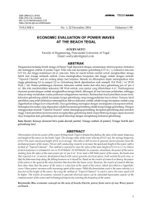 ECONOMIC EVaLUatION Of POWEr WaVEs at tHE