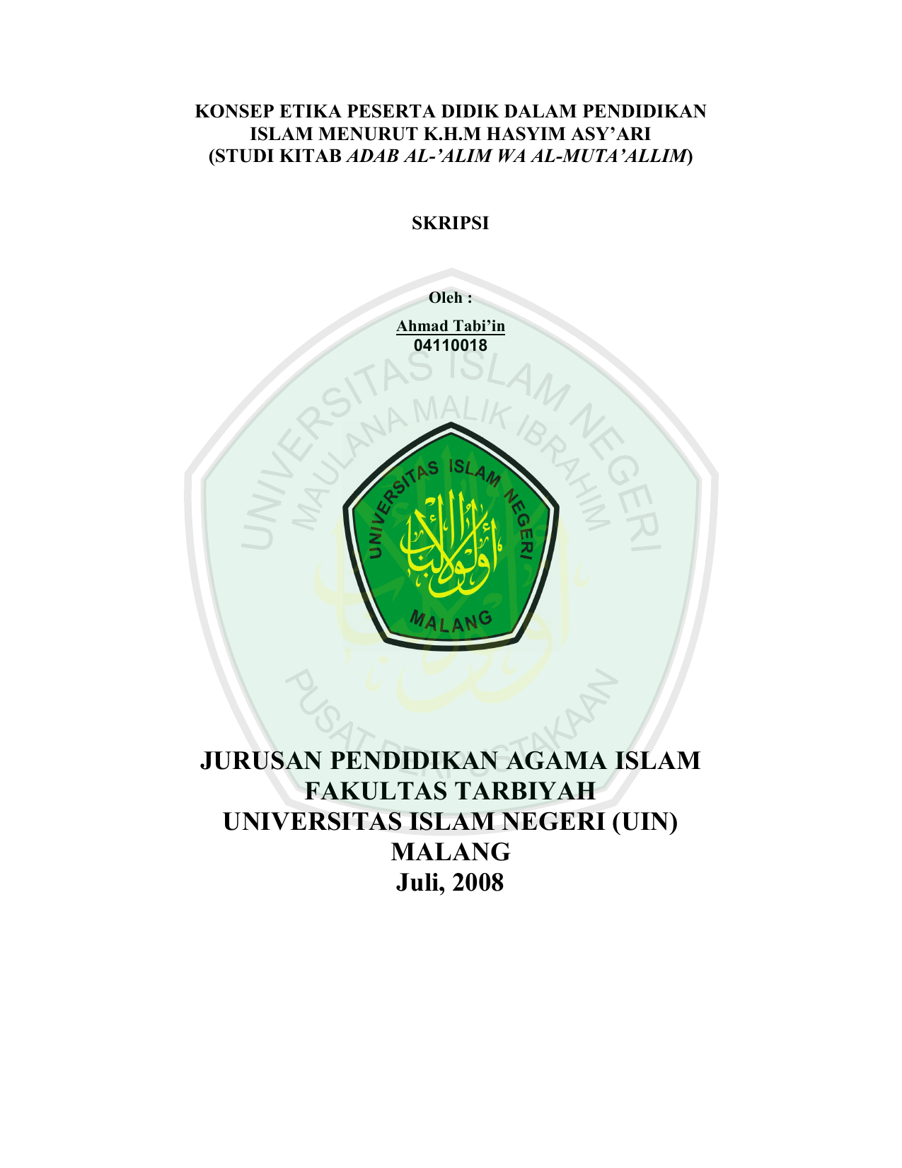 Isi Skripsi Etheses Of Maulana Malik Ibrahim State Islamic University