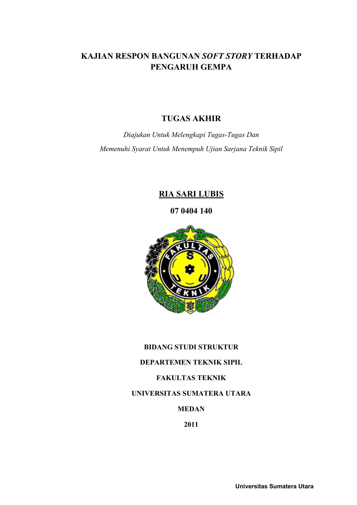 Tugas Akhir Usu Ir Universitas Sumatera Utara
