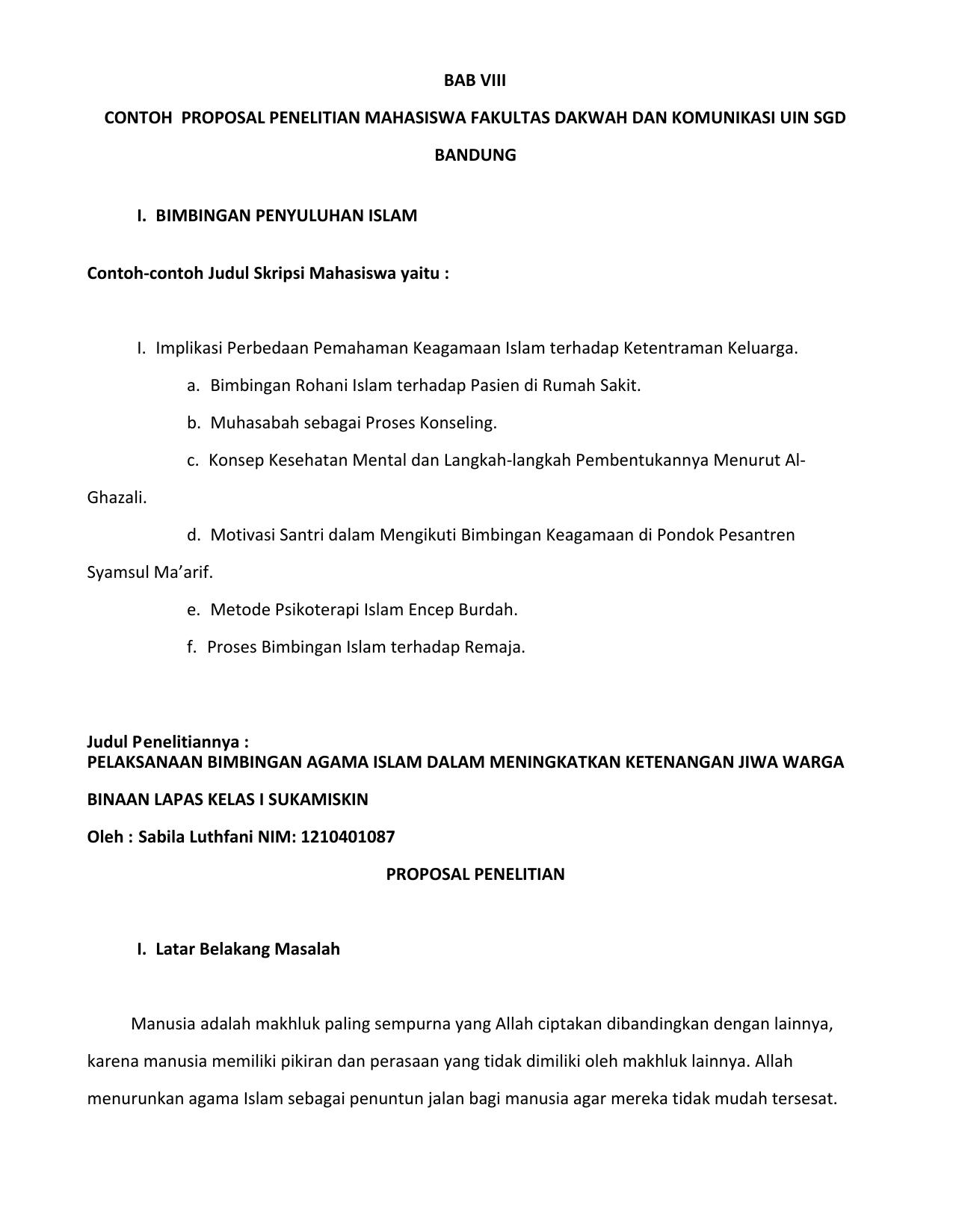 Bab Viii Contoh Proposal Penelitian Mahasiswa