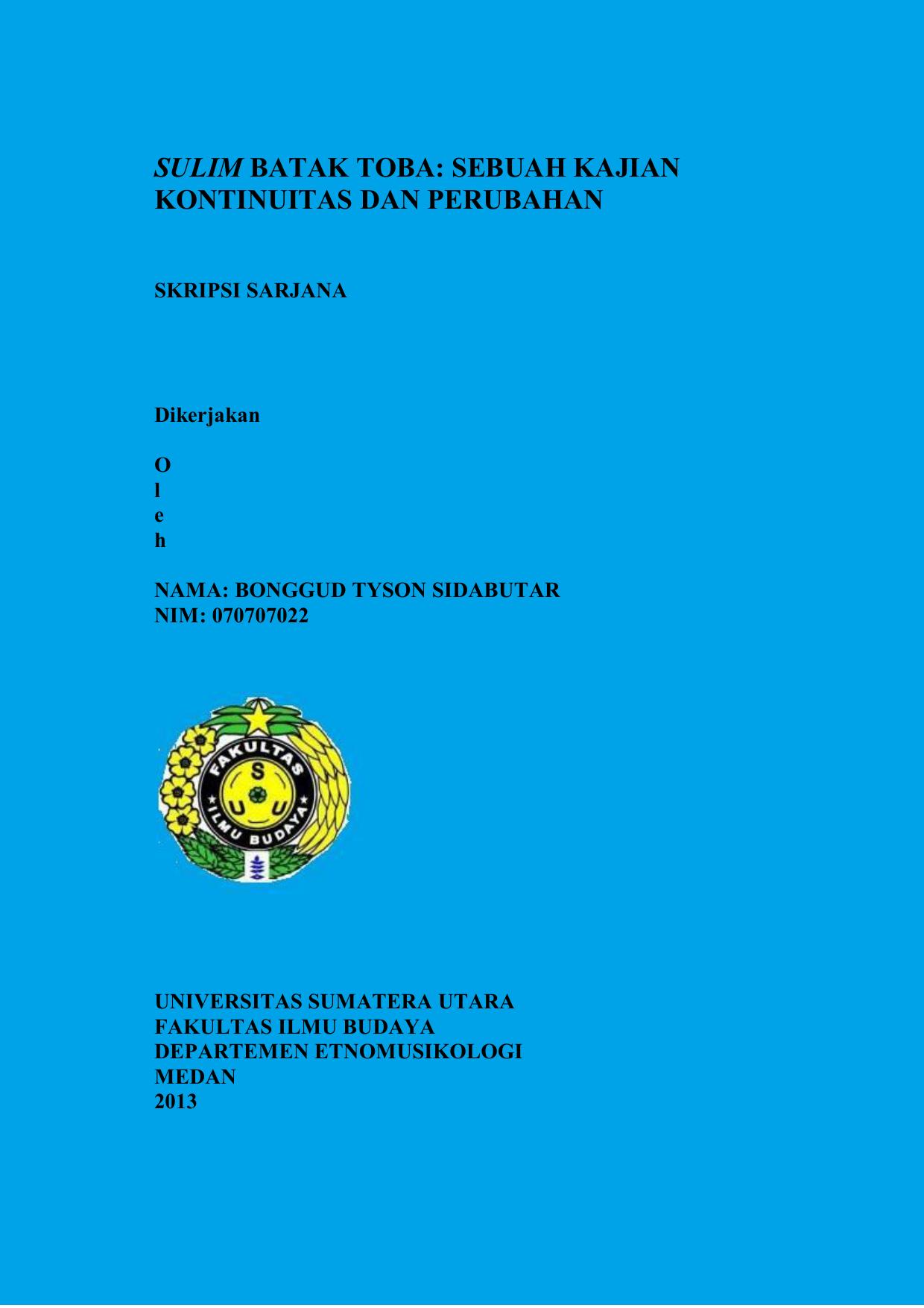 Sulim Batak Toba Program Studi Etnomusikologi Usu