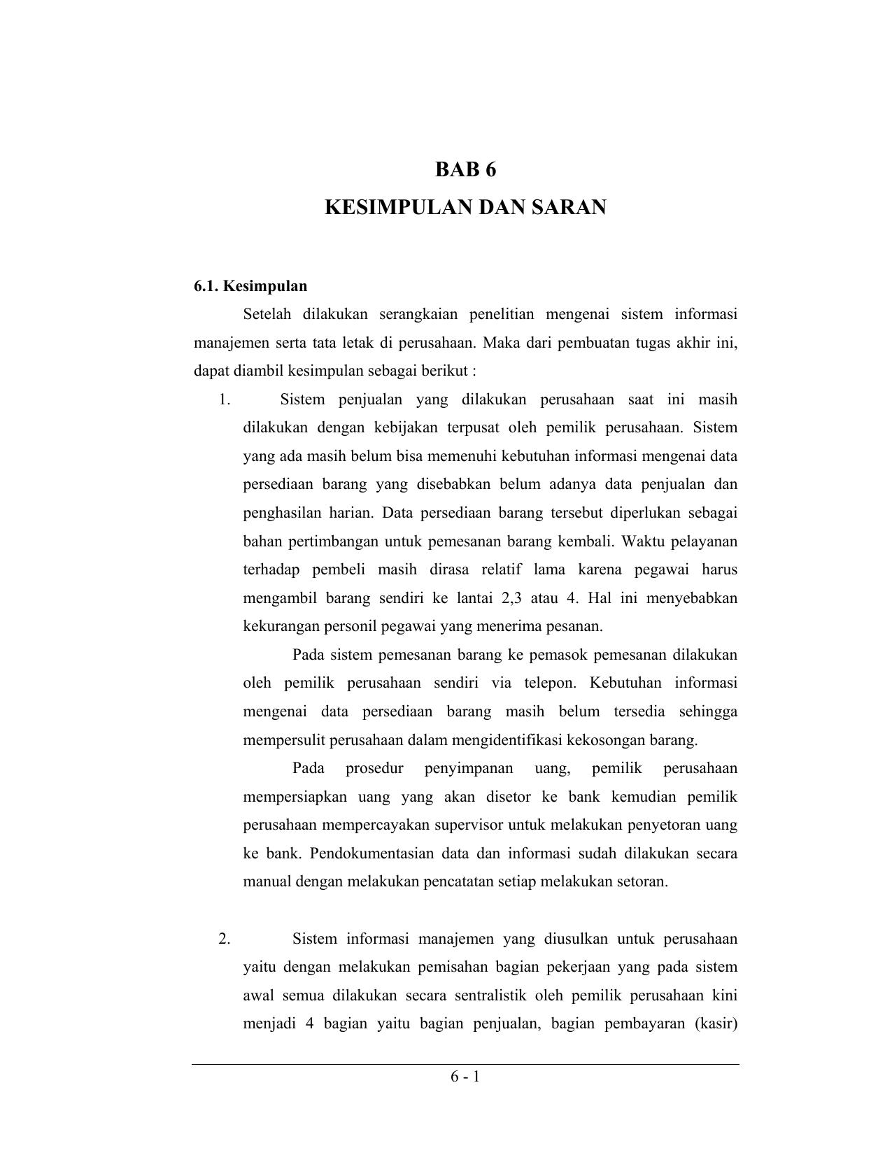 Bab 6 Kesimpulan Dan Saran
