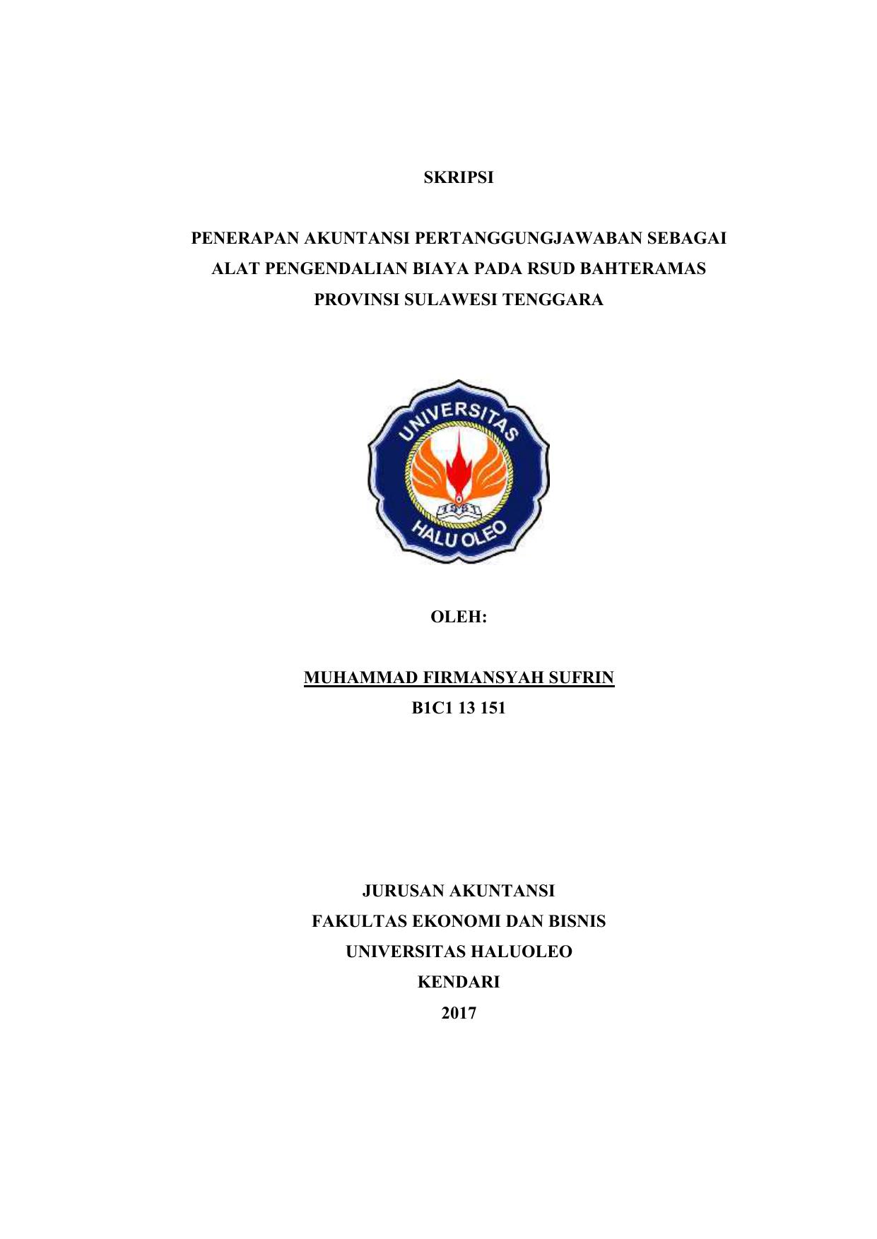 Skripsi Penerapan Akuntansi Pertanggungjawaban