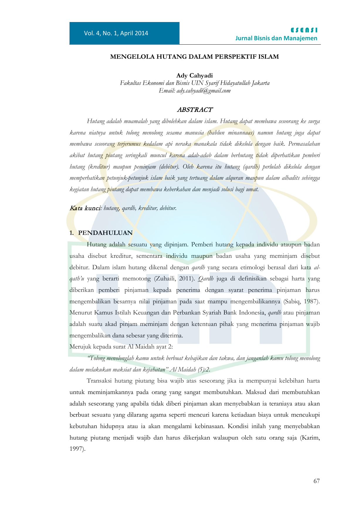 Abstract Repository Uin Jakarta
