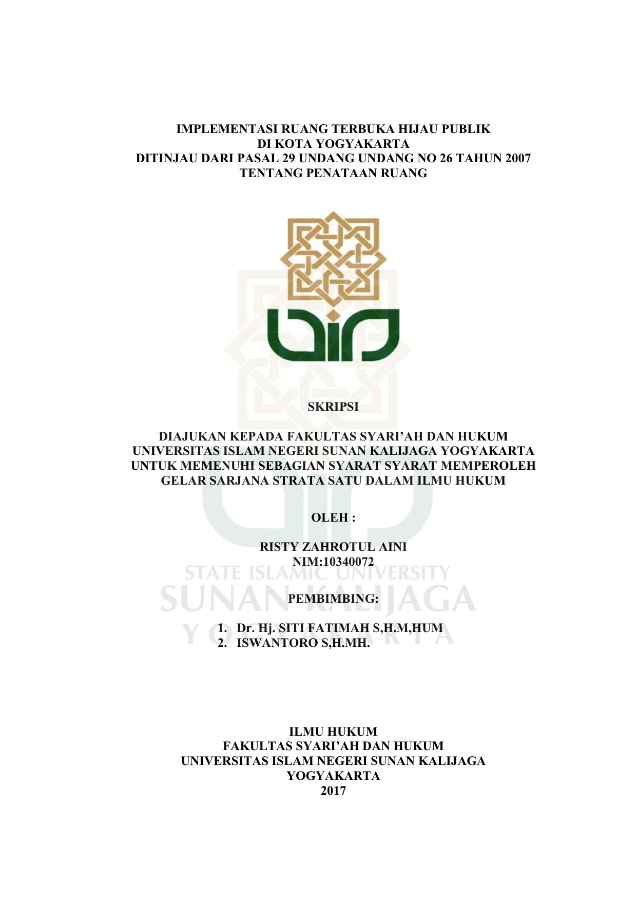 Implementasi Ruang Terbuka Hijau Publik Di Kota Yogyakarta Ditinjau