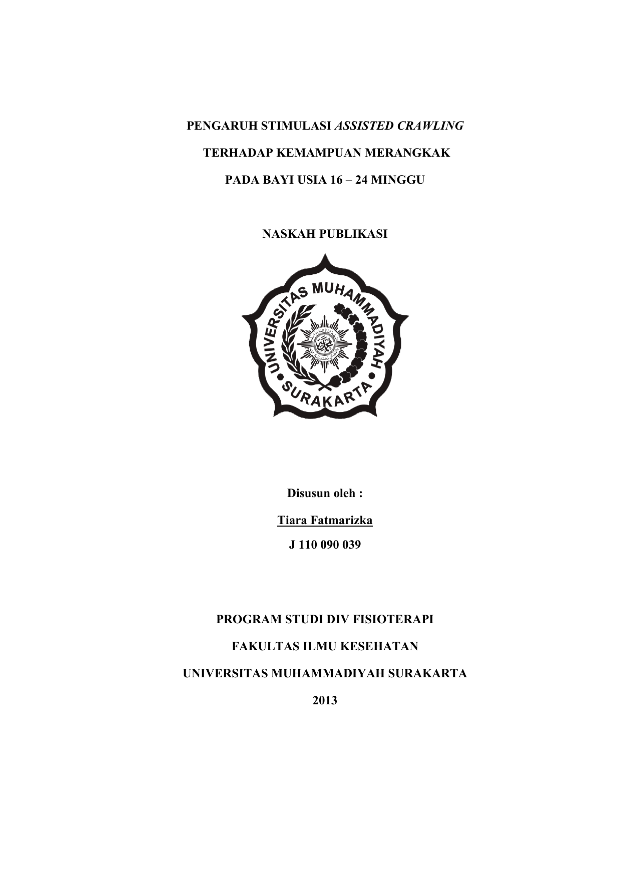 Pdf Naskah Publikasi Universitas Muhammadiyah Surakarta