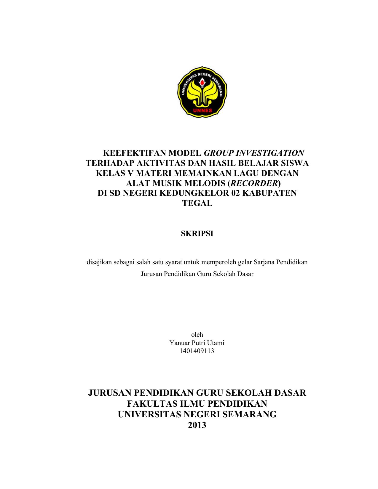 Jurusan Pendidikan Guru Sekolah Dasar Fakultas Ilmu