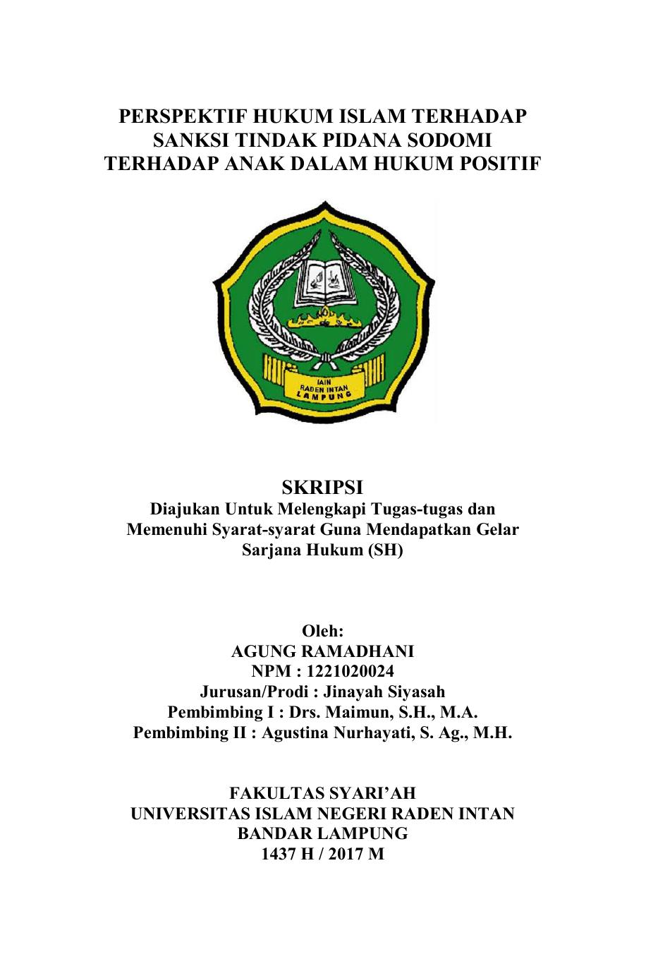 Contoh Skripsi Hukum Pidana Islam Pejuang Skripsi