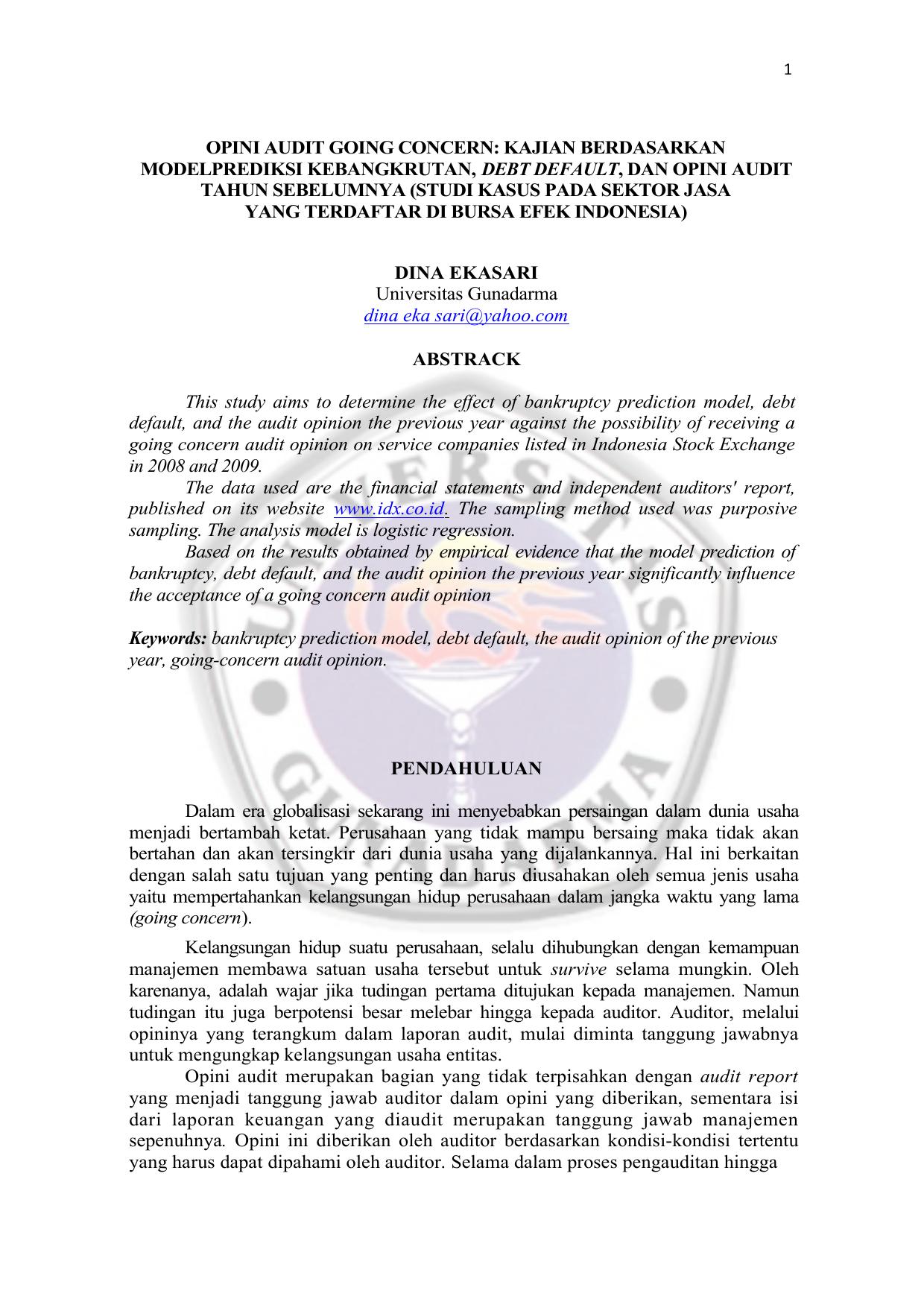 Opini Audit Going Concern Repository Universitas Gunadarma