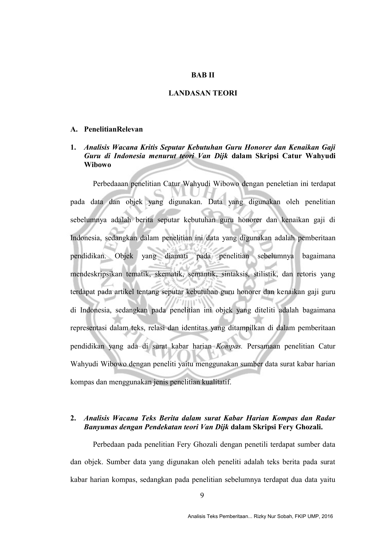 9 Bab Ii Landasan Teori A Penelitianrelevan 1 Analisis