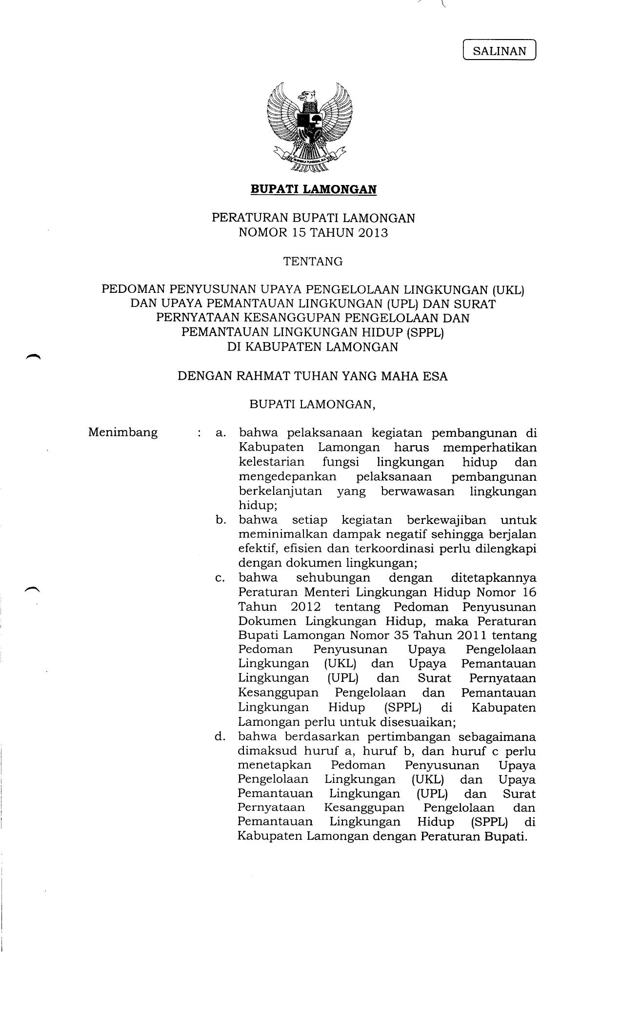 SPPL Pemerintah Kabupaten Lamongan