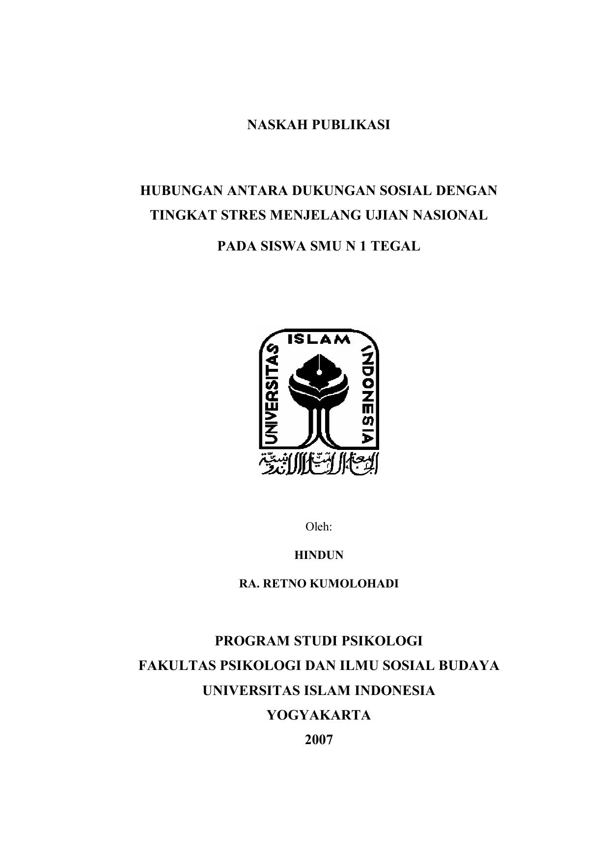 Naskah Publikasi Hubungan Antara Dukungan Sosial Dengan Tingkat