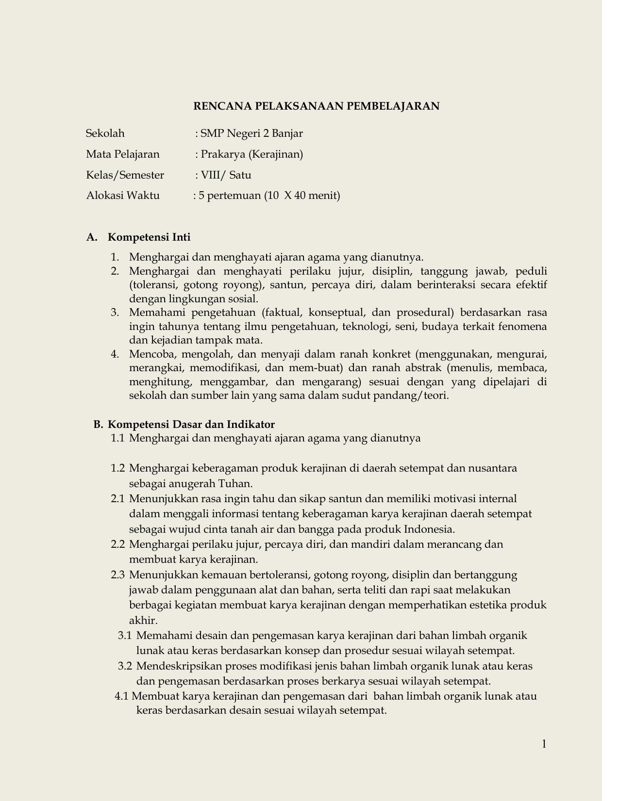 Prakarya Kerajinan Smp Negeri 2 Banjar