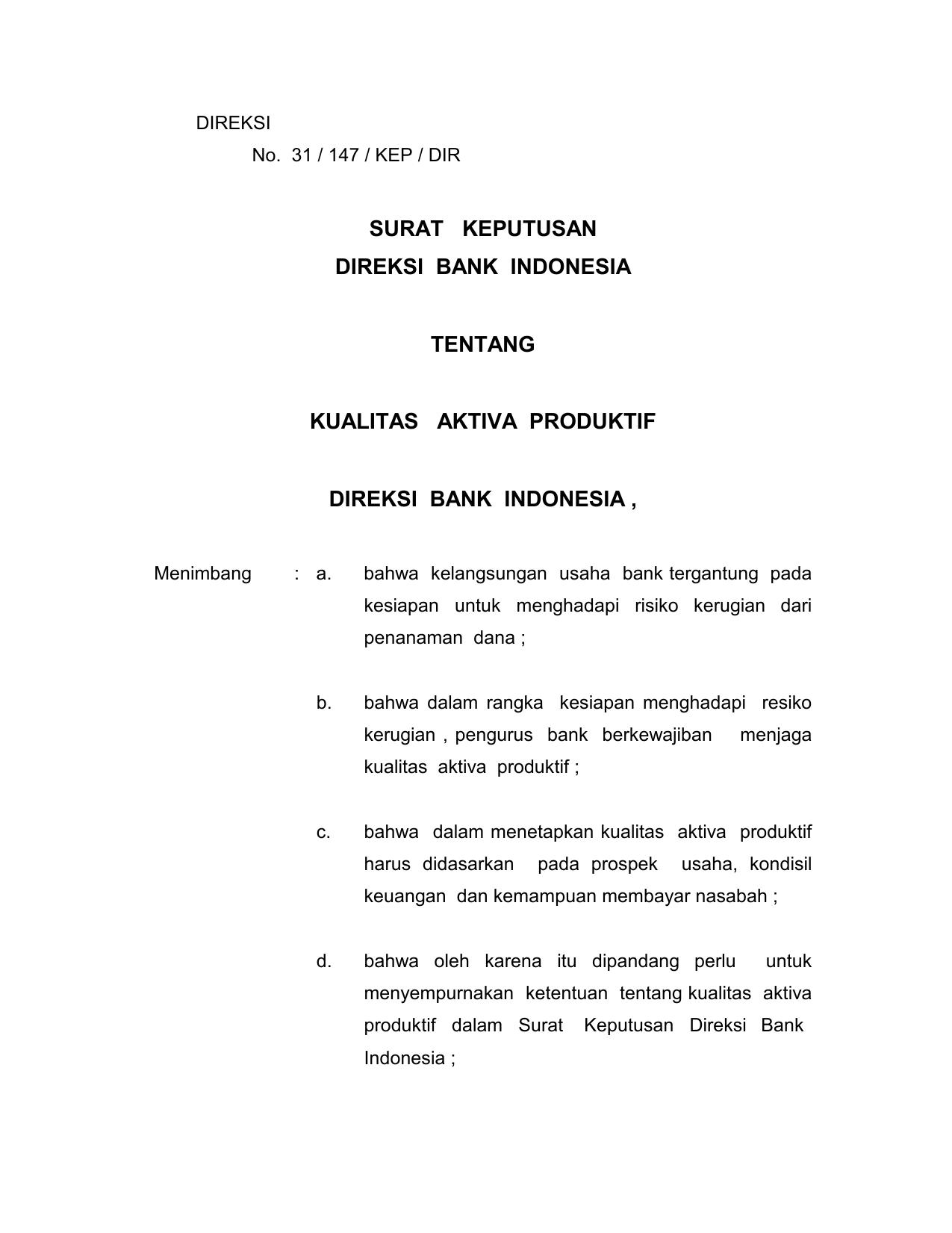 Surat Keputusan Direksi Bank Indonesia Tentang Kualitas Aktiva