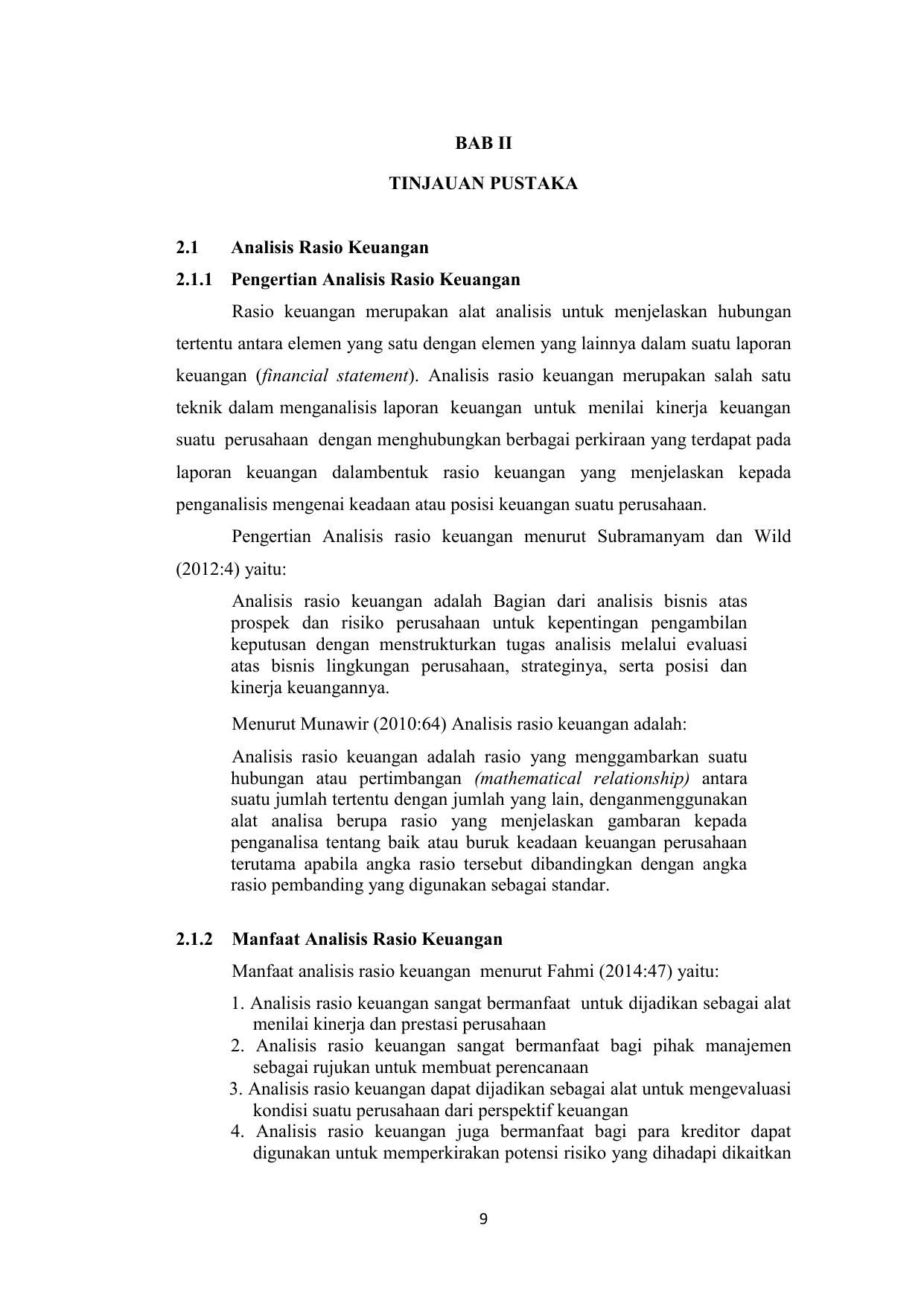 Bab Ii Tinjauan Pustaka 2 1 Analisis Rasio Keuangan 2 1 1