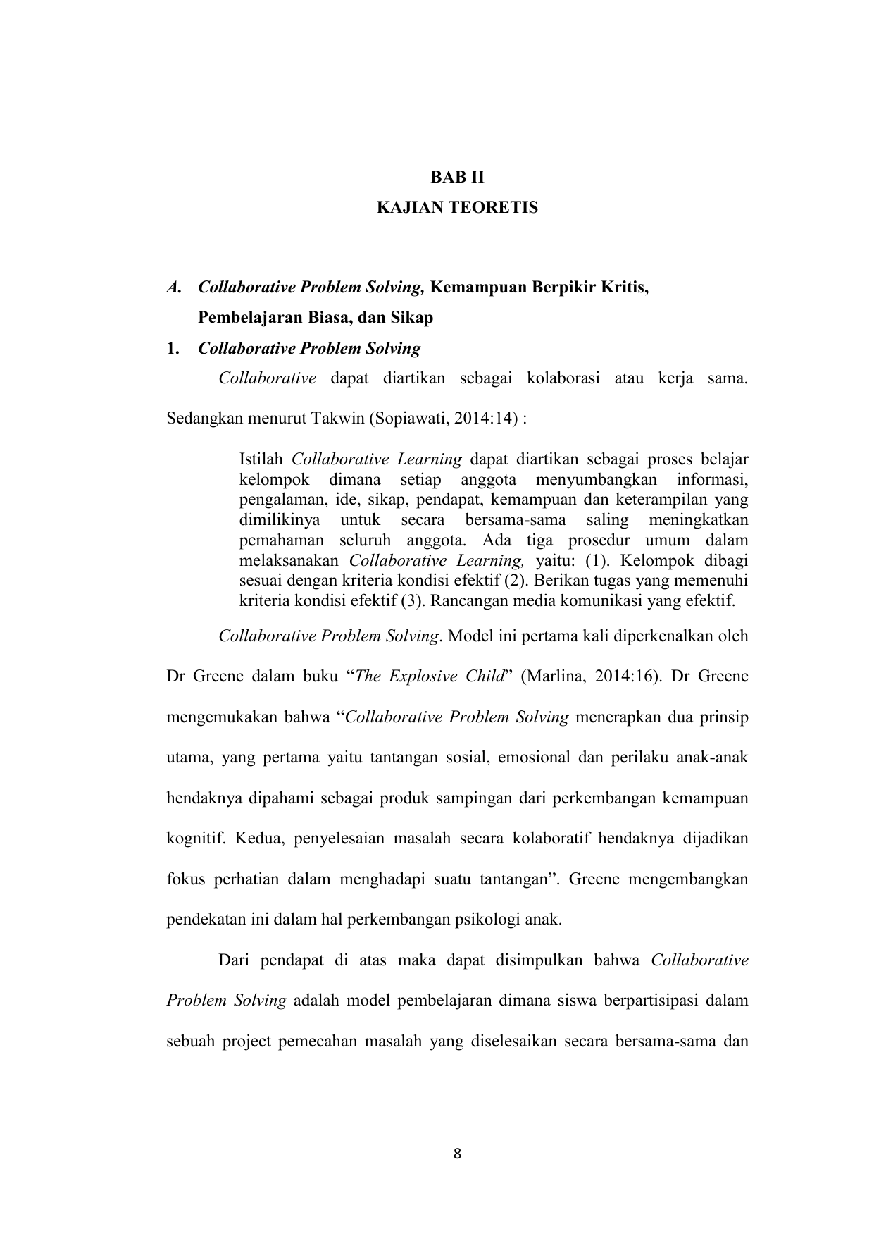 pengertian model pembelajaran collaborative problem solving