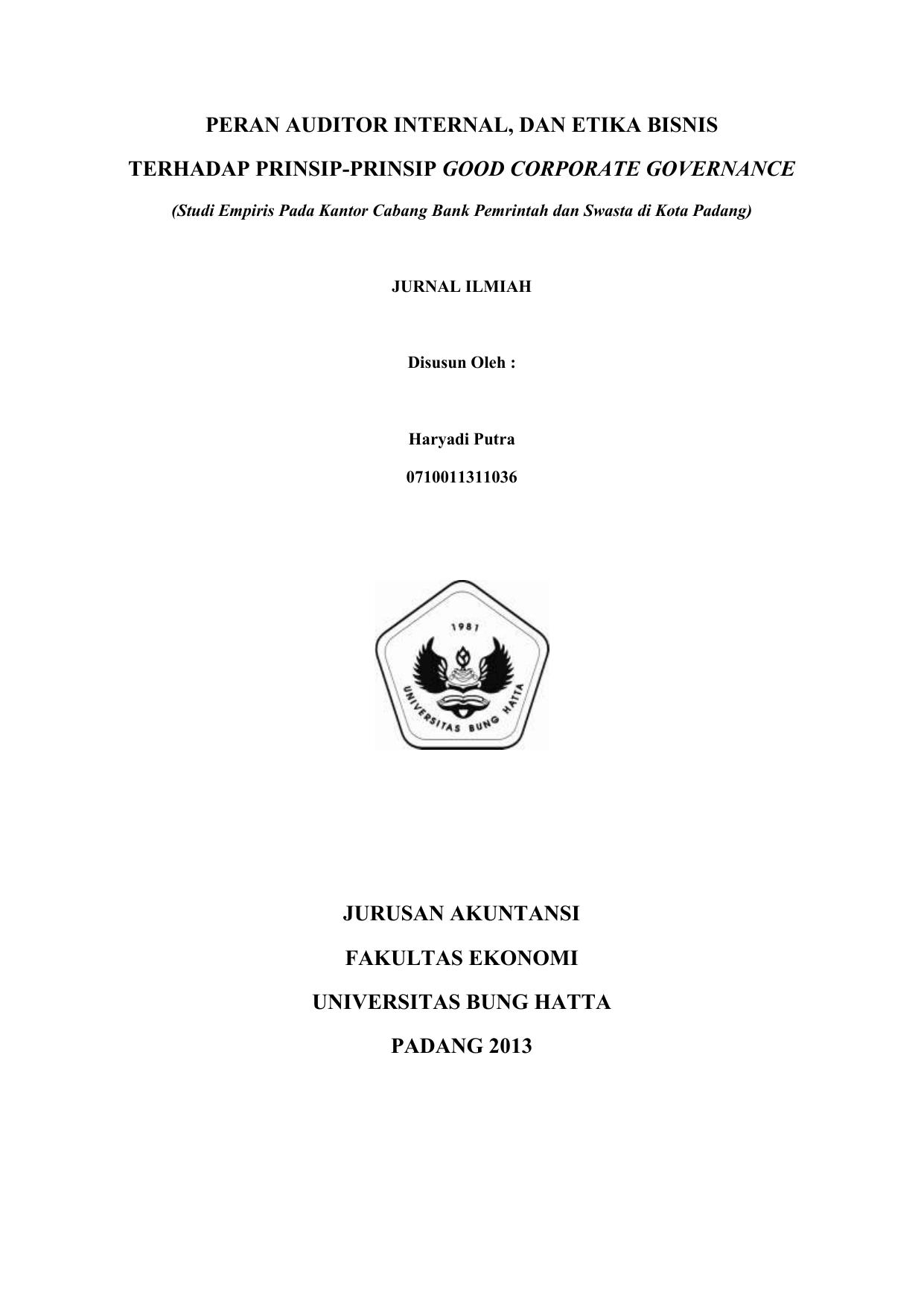 Peran Auditor Internal Dan Etika Bisnis Terhadap Prinsip