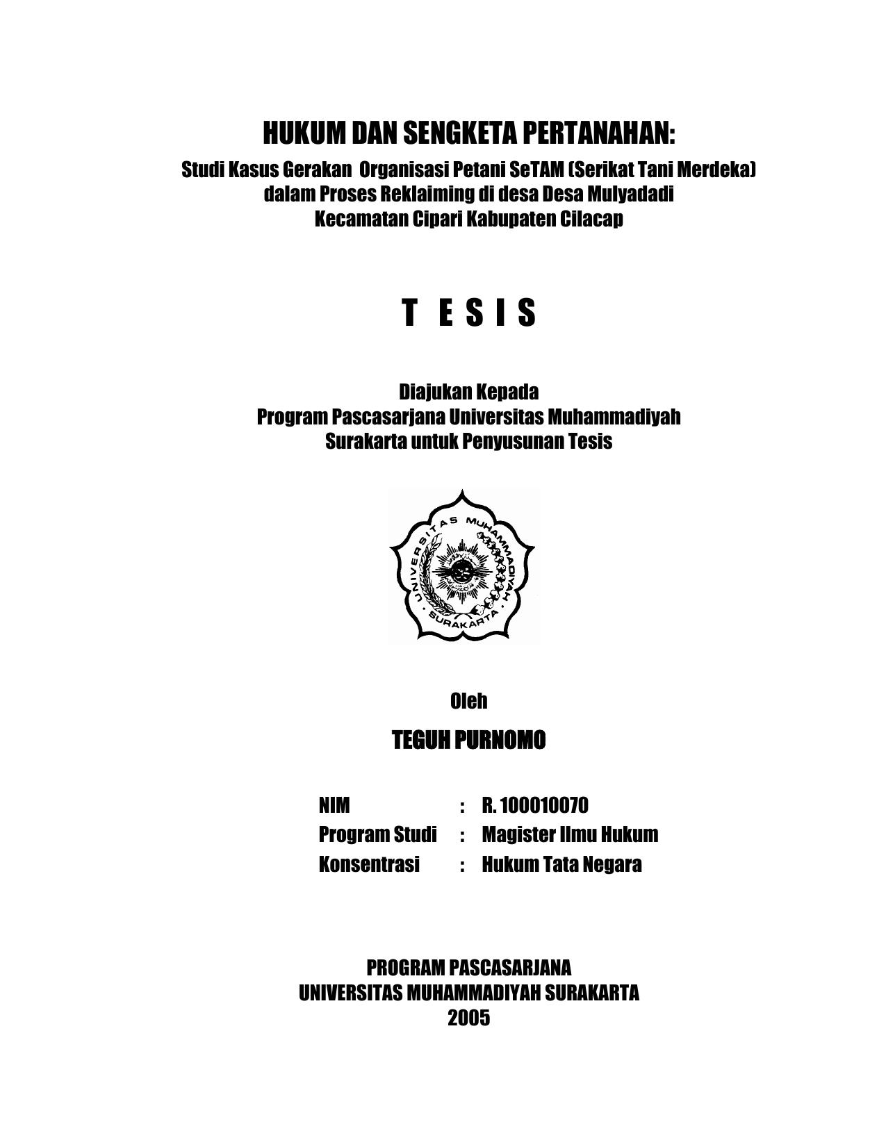 Contoh Soal Dan Materi Pelajaran 2 Contoh Tesis Hukum Tata Negara