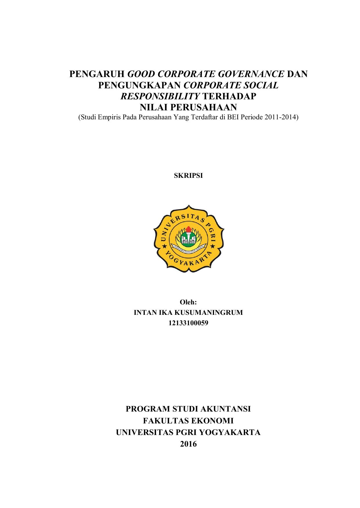 Pengaruh Good Corporate Governance Dan Pengungkapan