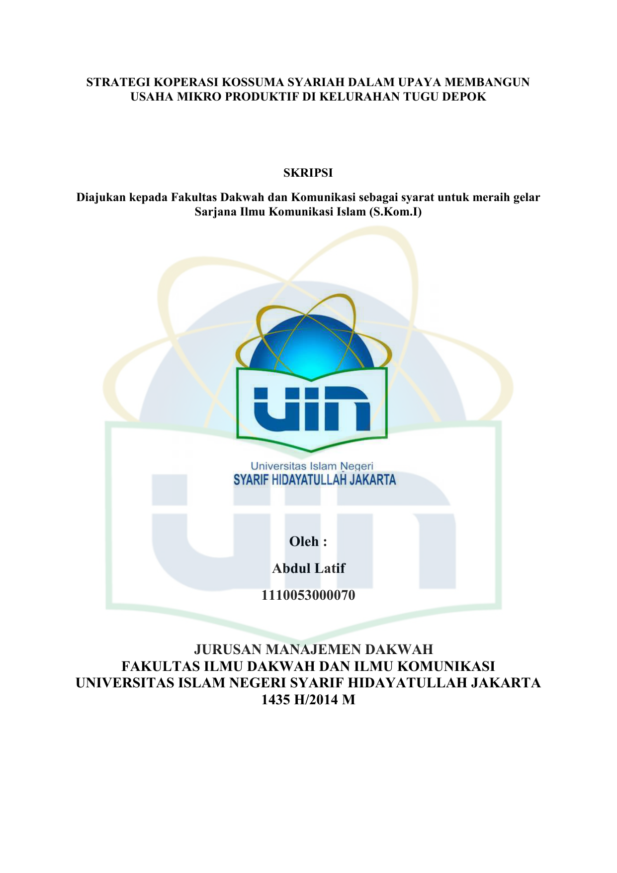Abdul Latif Fdk Repository Uin Jakarta